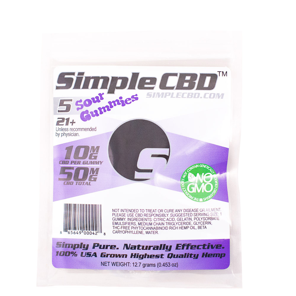 5 ct. 10mg Simple CBD Sour Gummies
