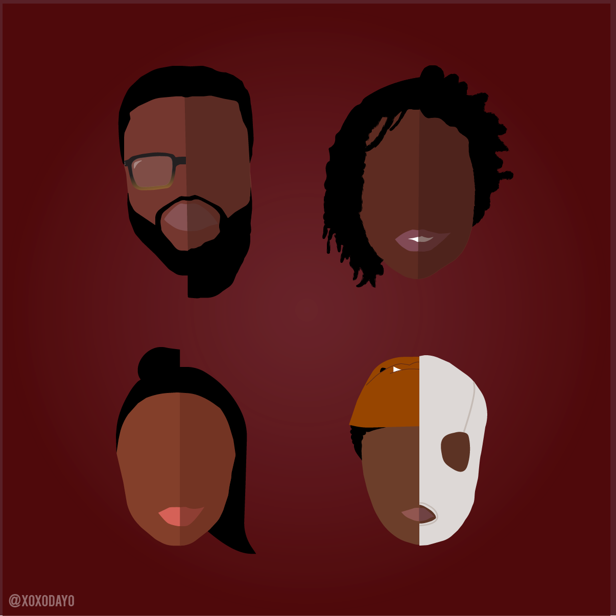 Artwork inspired by Jordan Peele's hit movie US featuring a split image the characters and their tethered
