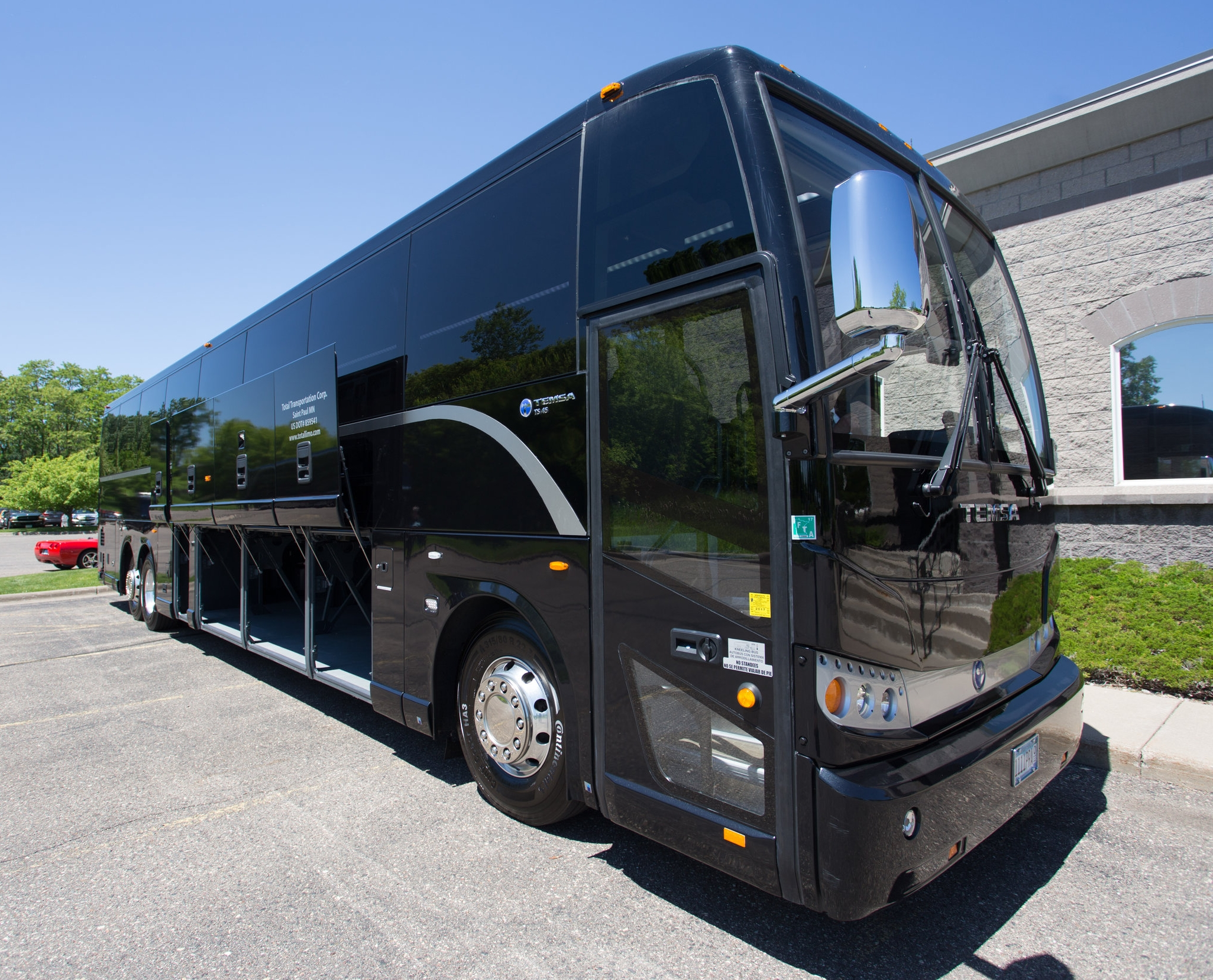 Motorcoaches - Total Motorcoach offers 30, 40, and 56 passenger luxury Motorcoaches that make transporting your group easy and affordable. Move your group around in executive comfort with on-board wi-fi, restroom, and multiple TV's.