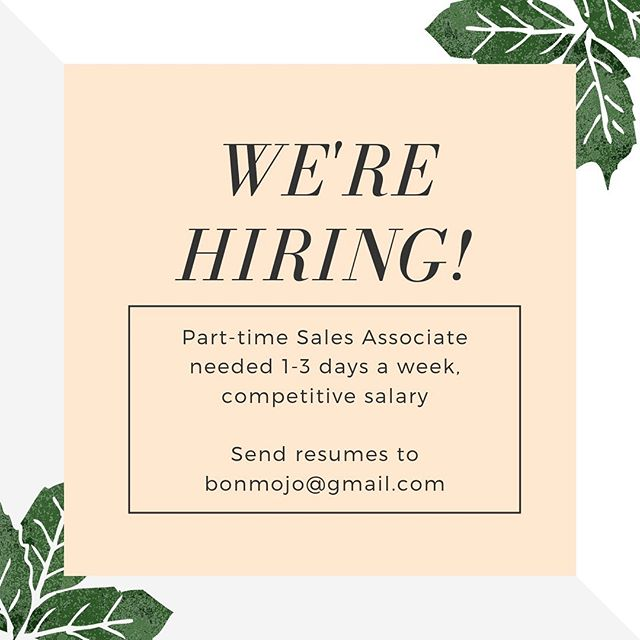 We're hiring! Send all inquiries to bonmojo@gmail.com #discovereaston #talbotcountymd #eastonmd