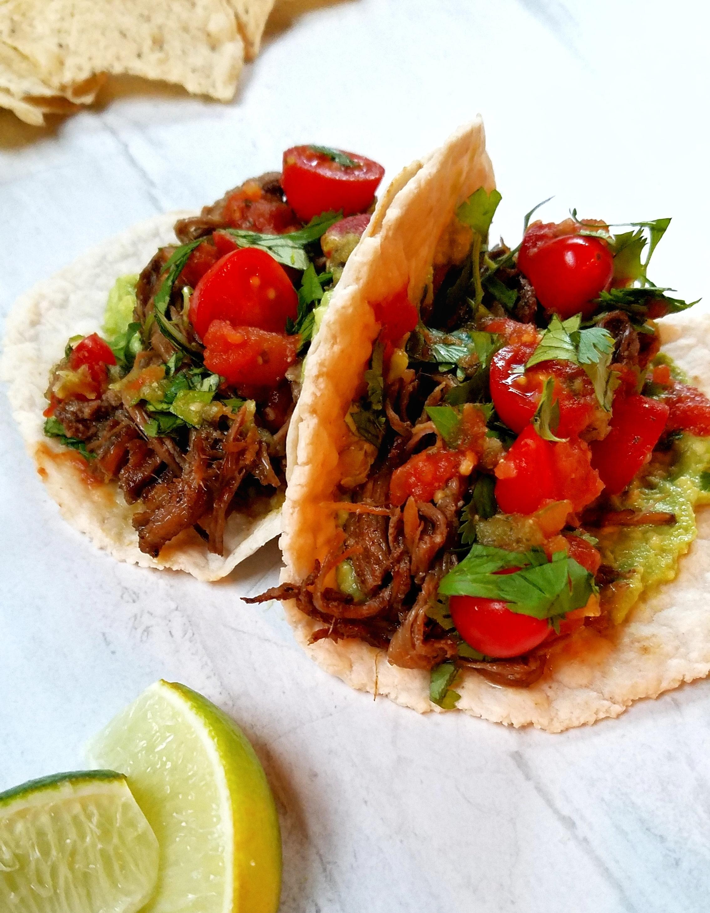 Grass-Fed Beef Slow Cooker Carnitas with Cassava Flour Tortillas
