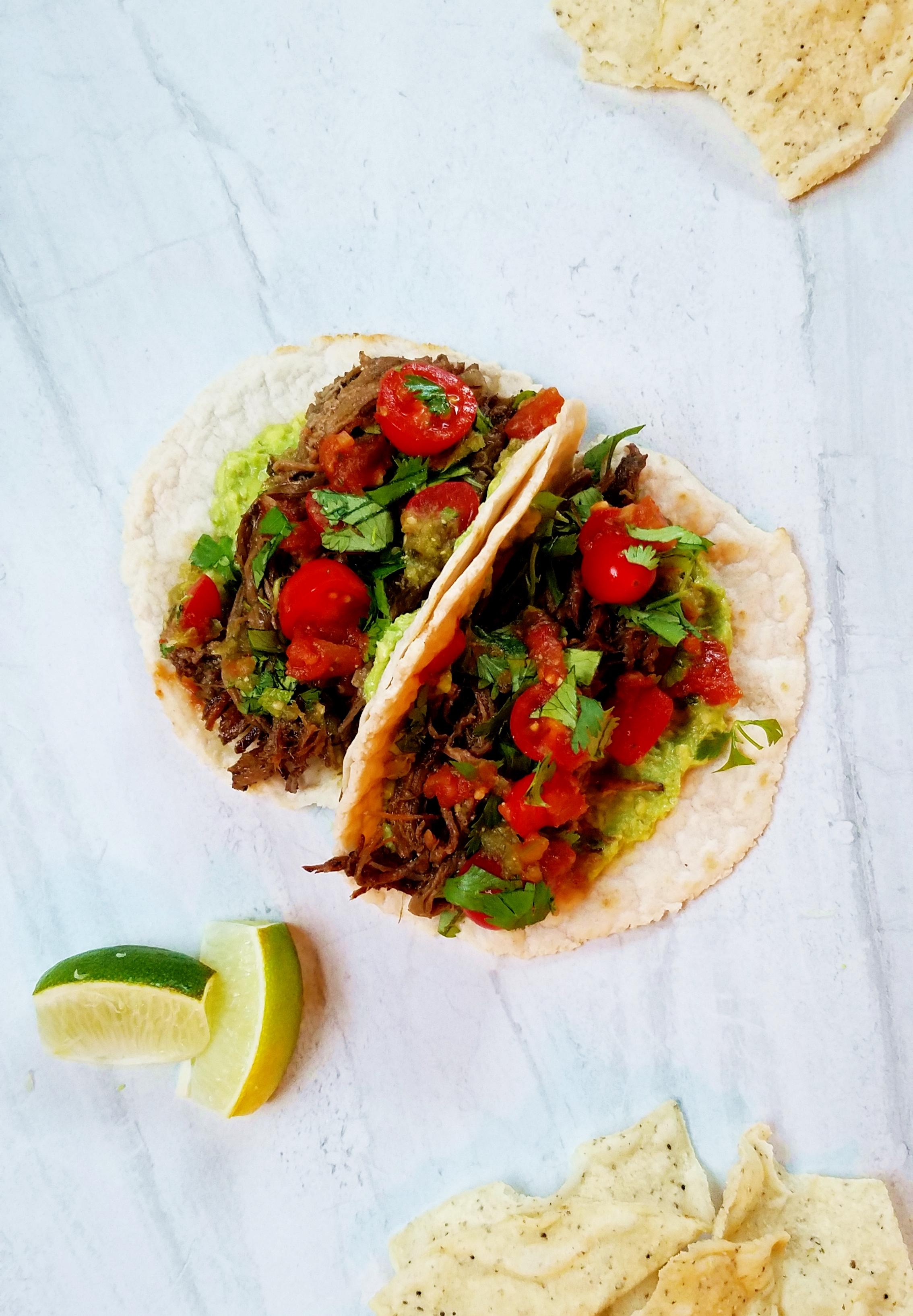 slow cooker grass-fed beef carnitas grain-free tortillas