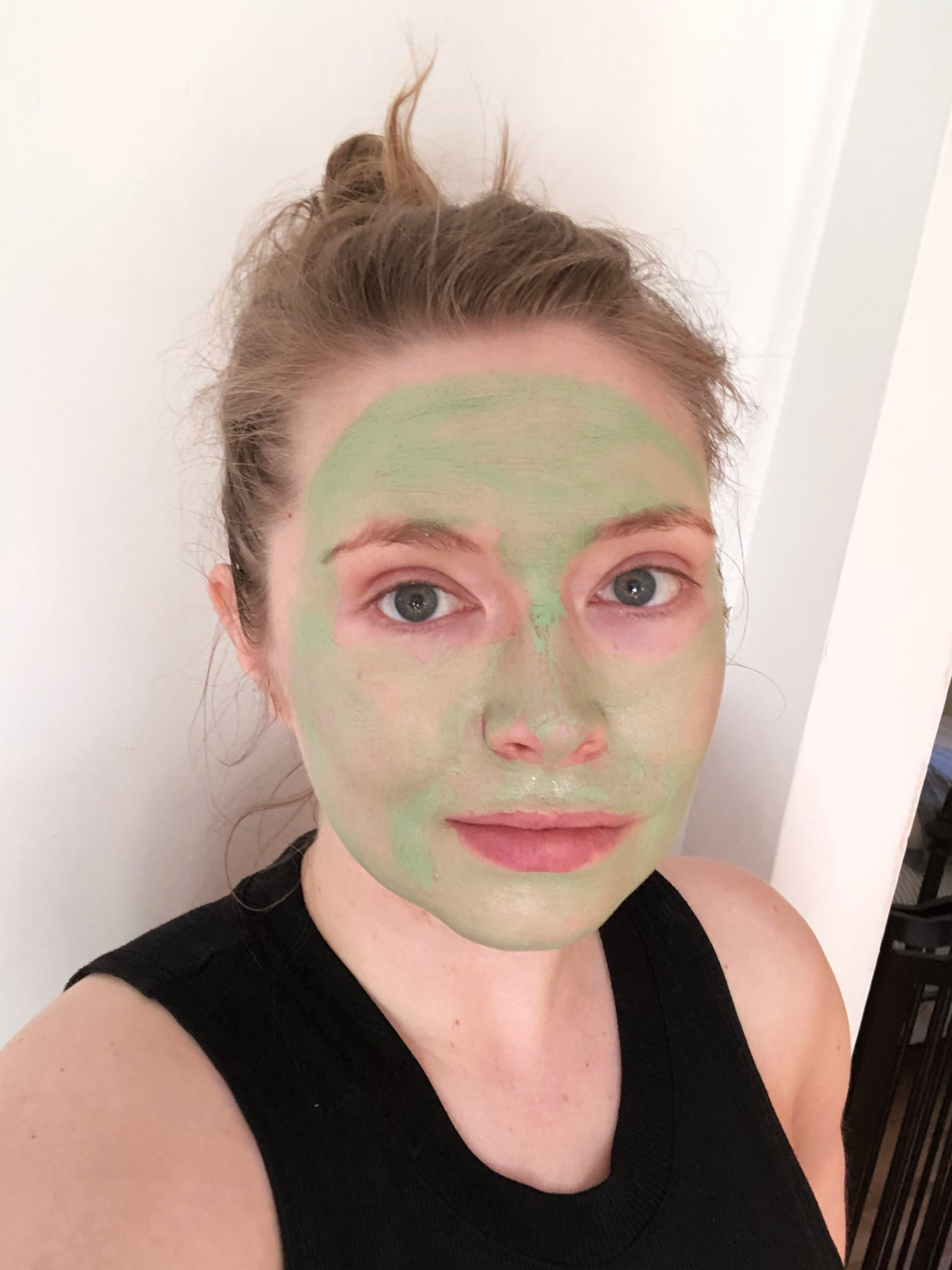 A photo of me, post-workout, masking away. So brave.