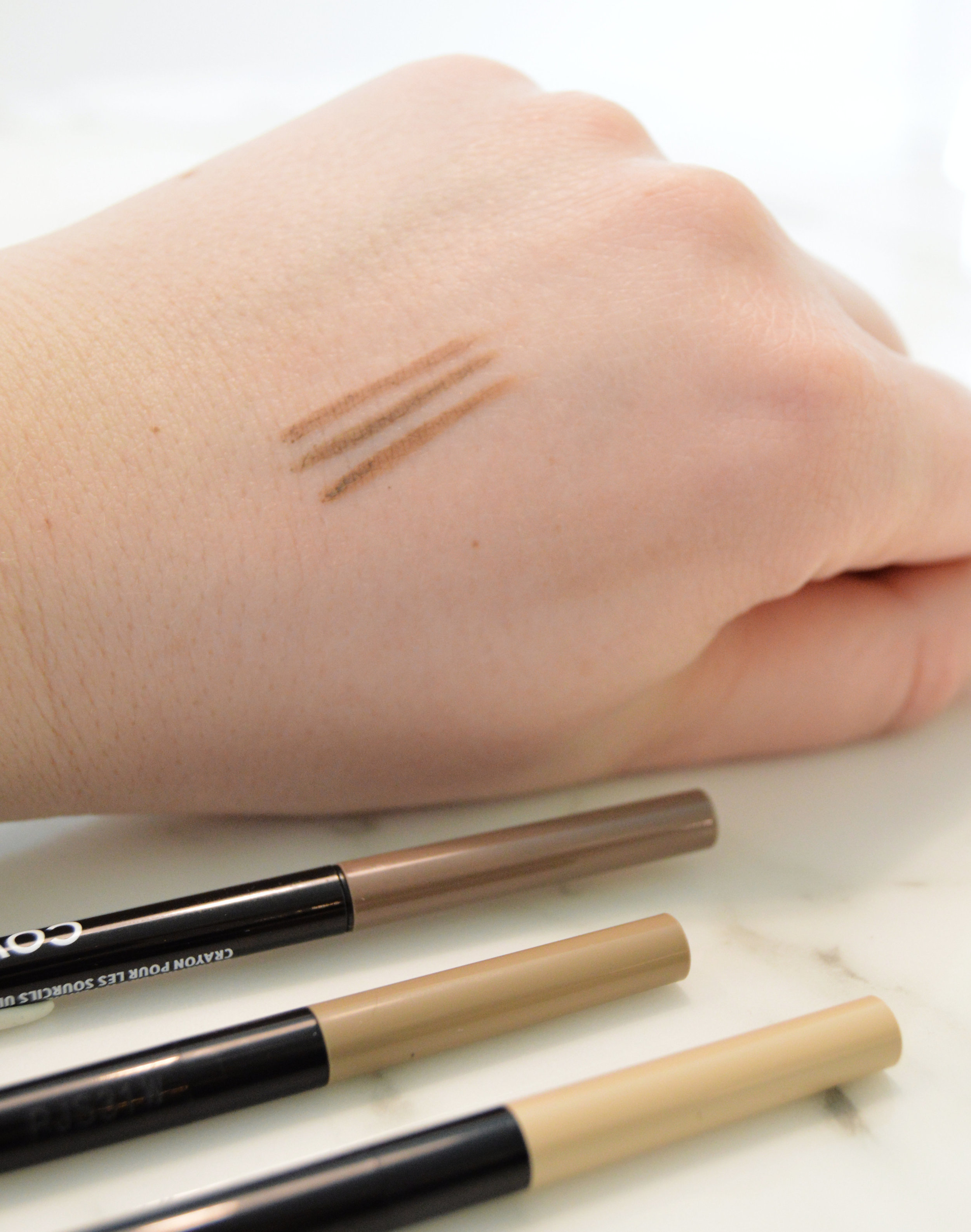 Top to bottom: Cover Girl Blonde, Maybelline Blonde, and Maybelline Light Blonde eyebrow pencils