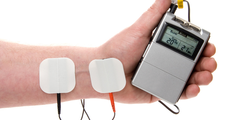 This is what an old-school at-home TENS unit looks like. It's cheaper, but a bit fiddly.