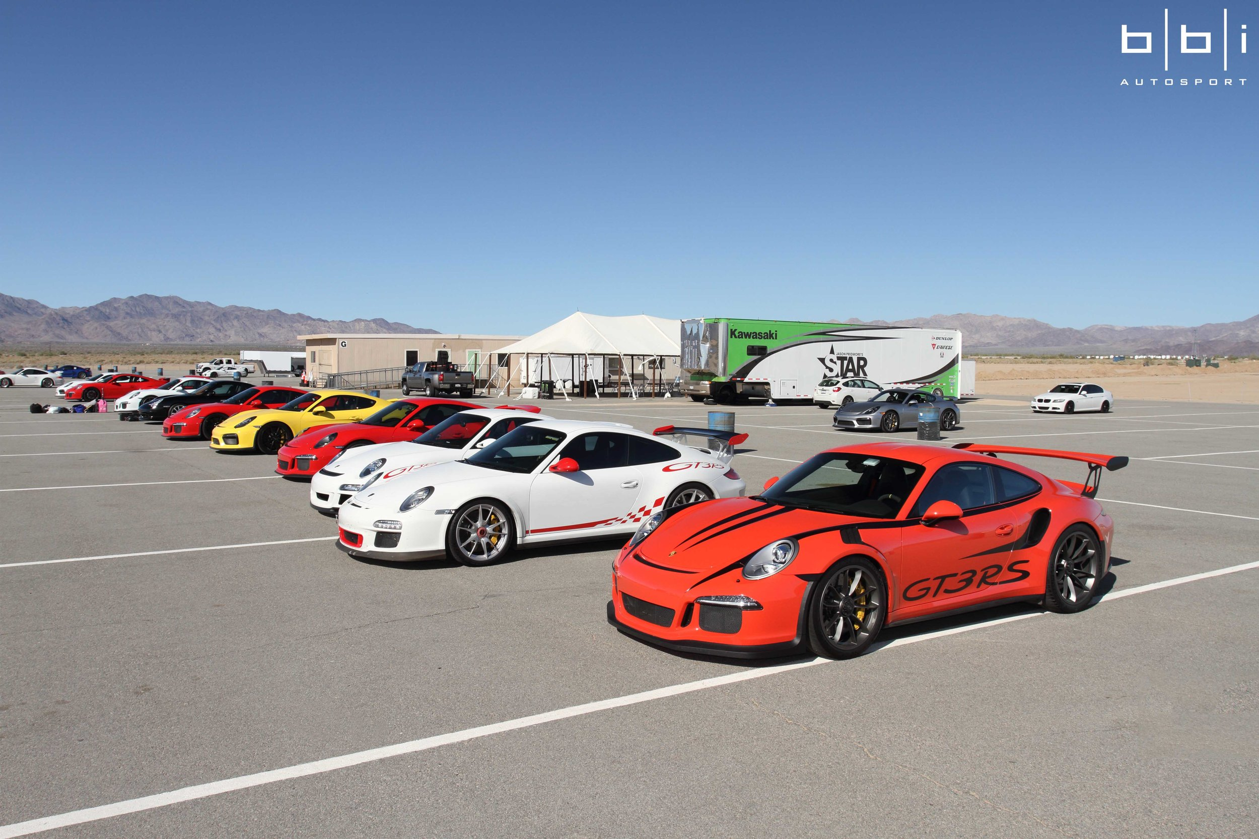 Our first private BBi Autosport Track Day at Chuckwalla Valley Raceway featured a good assortment of cars and everyone had a great time despite the windy sandstorms. The track was a little slick, so no records set, but MASSIVE amount of track time and I think most will agree, no traffic at all! For those that hadn't been, Chuckwalla is a fun track, right? Once you do private days, you don't want to do anything else, it spoils you!  The vibe was great and all the drivers were courteous. We heard no issues at all of any craziness except Betim playing Ken Block in that insane BBi Project Swan 997 Turbo that shot flames on upshifts. Our friends from HG Motorsports down in San Diego had a lot of fun with their 991 GT3 Super StreetCup as well.  Anyways, we hope everyone had a great time, and if there is anything that didn't meet your expectations (except the wind!) please let us know. We are going to do about 4 of these a year, with the next target being Buttonwillow Raceway sometime later summer/early fall. We would like to thank our friend Chris, Rennlist member Syperxx, for helping us organize the event and everyone one else for joining us!