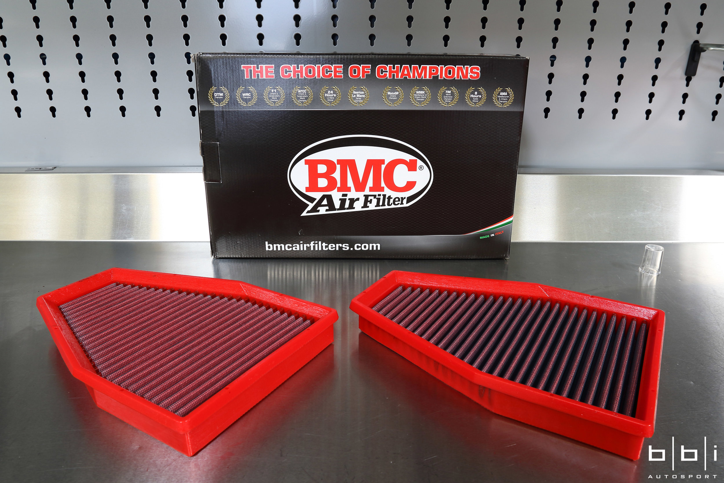 To help the engine breathe a little easier, we upgraded to the BMC F1 Replacement Air Filter. Compared to the restrictive factory filter, itis made of a washable cotton material that provides nearly 40% greater airflow than paper, enclosed in an alloy mesh screen which helps the filter keep its shape and protects against larger debris and dirt. The increased flow of air through the filter provides a steady stream of clean air to the engine, resulting in much more consistent and efficient power.