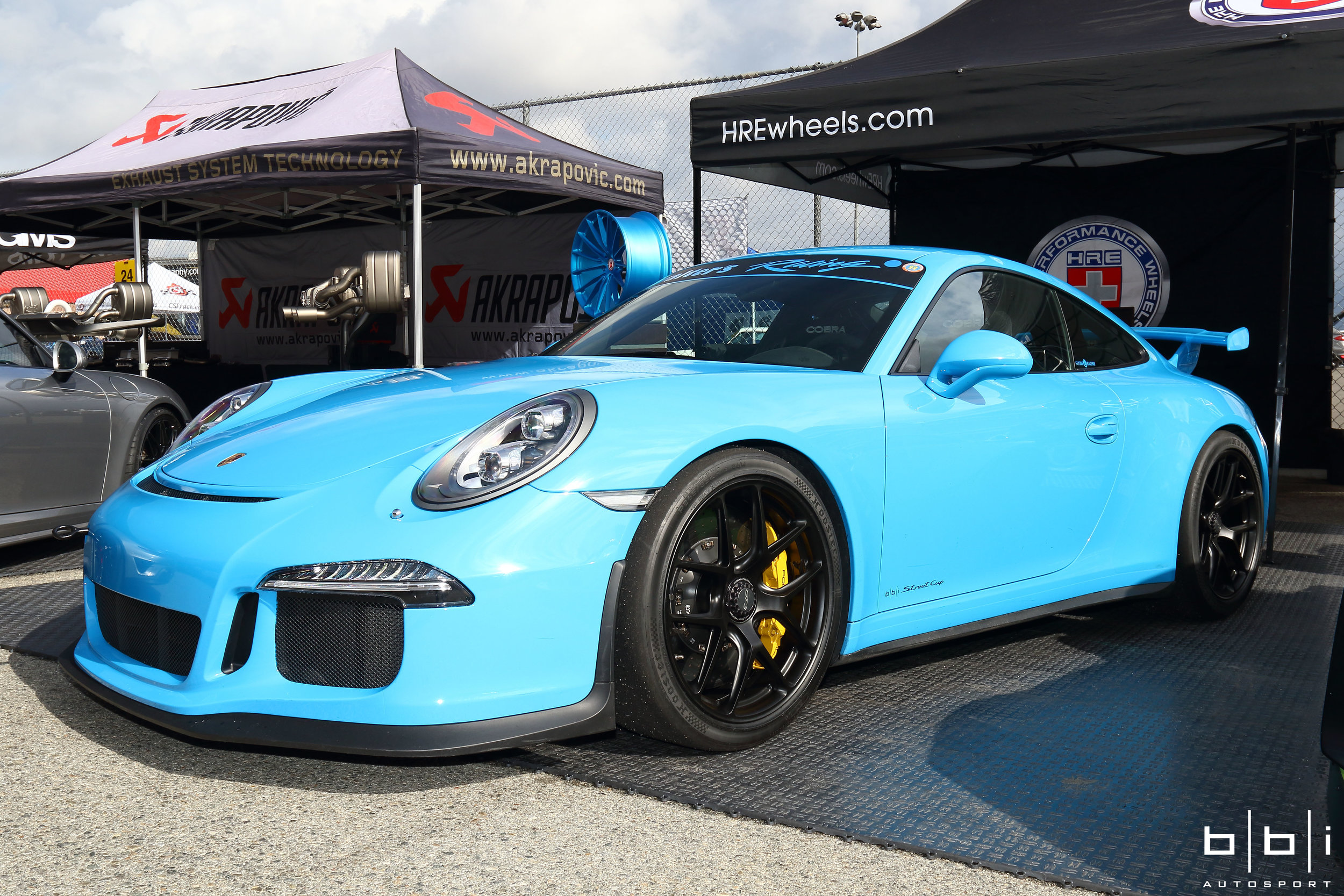 Flying L Racing's Mexico Blue Porsche 991 GT3 with Complete BBi StreetCup Roll Bar, Suspension,Exhaust and HRE Wheels Track Pacakge