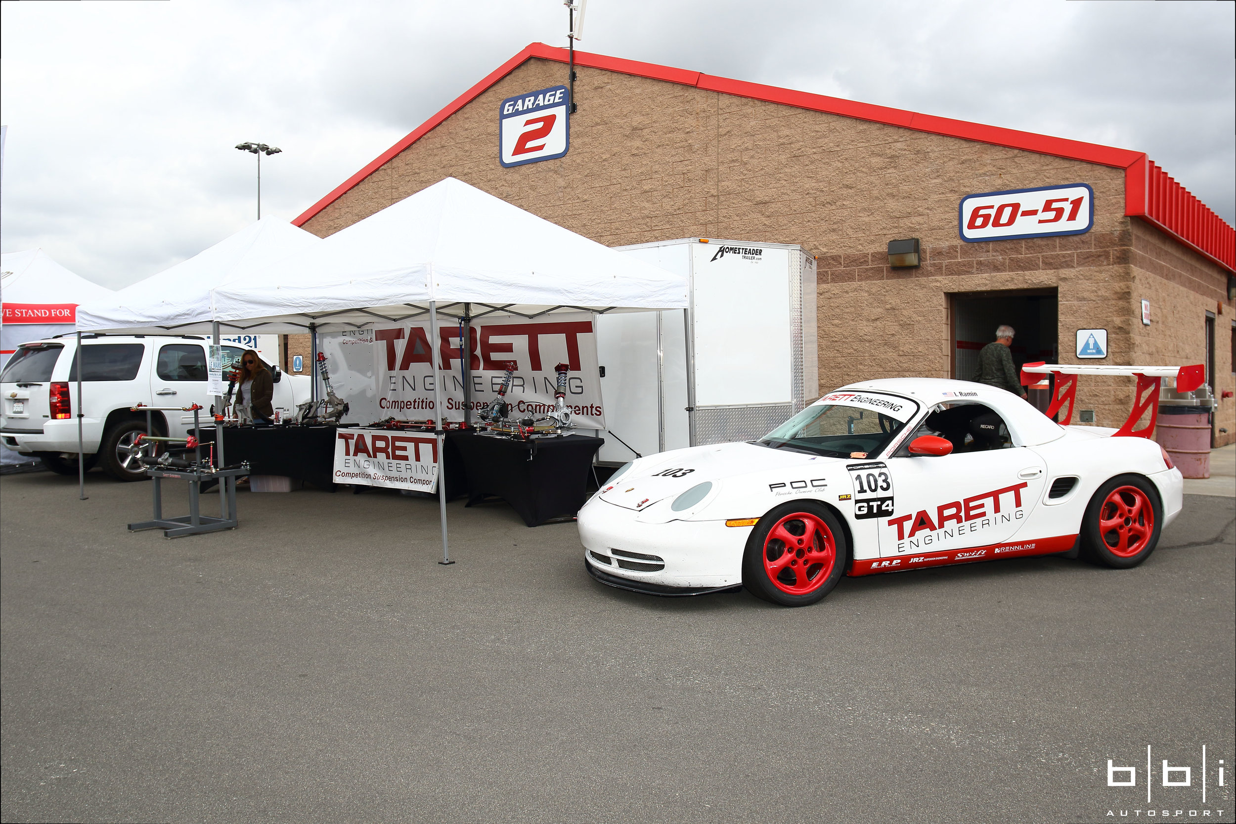 Stopped by to visit our good friends over at their Tarret Engineering booth. Don't underestimate their Porsche Boxter... Upgraded with Tarrett, ERP, JRZ, Swift and Rennline components, this little track monster will give any Porsche a run for their money.