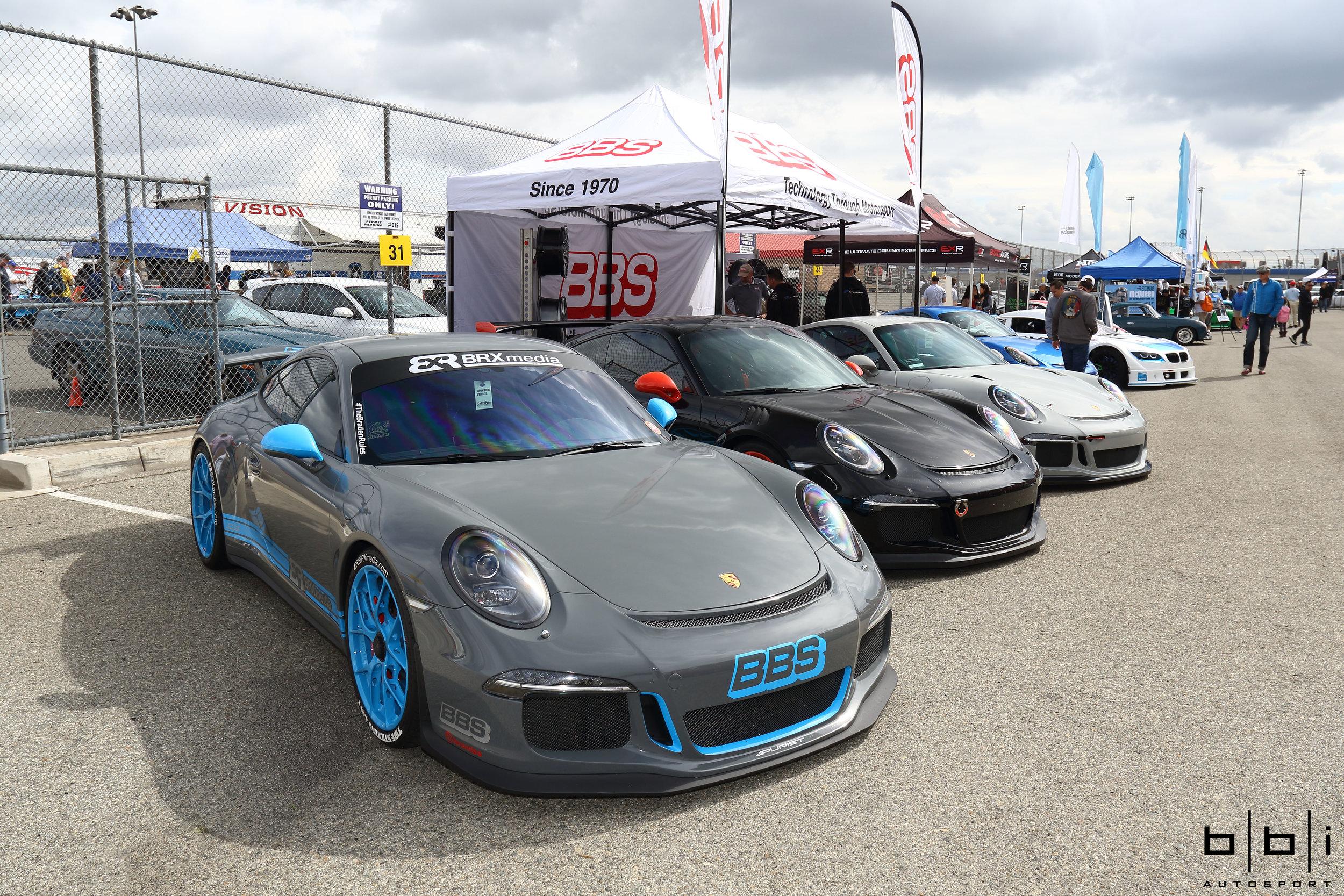 Few Porsche 991 GT3's with BBS FI-R Wheels at BBS Wheels' Booth