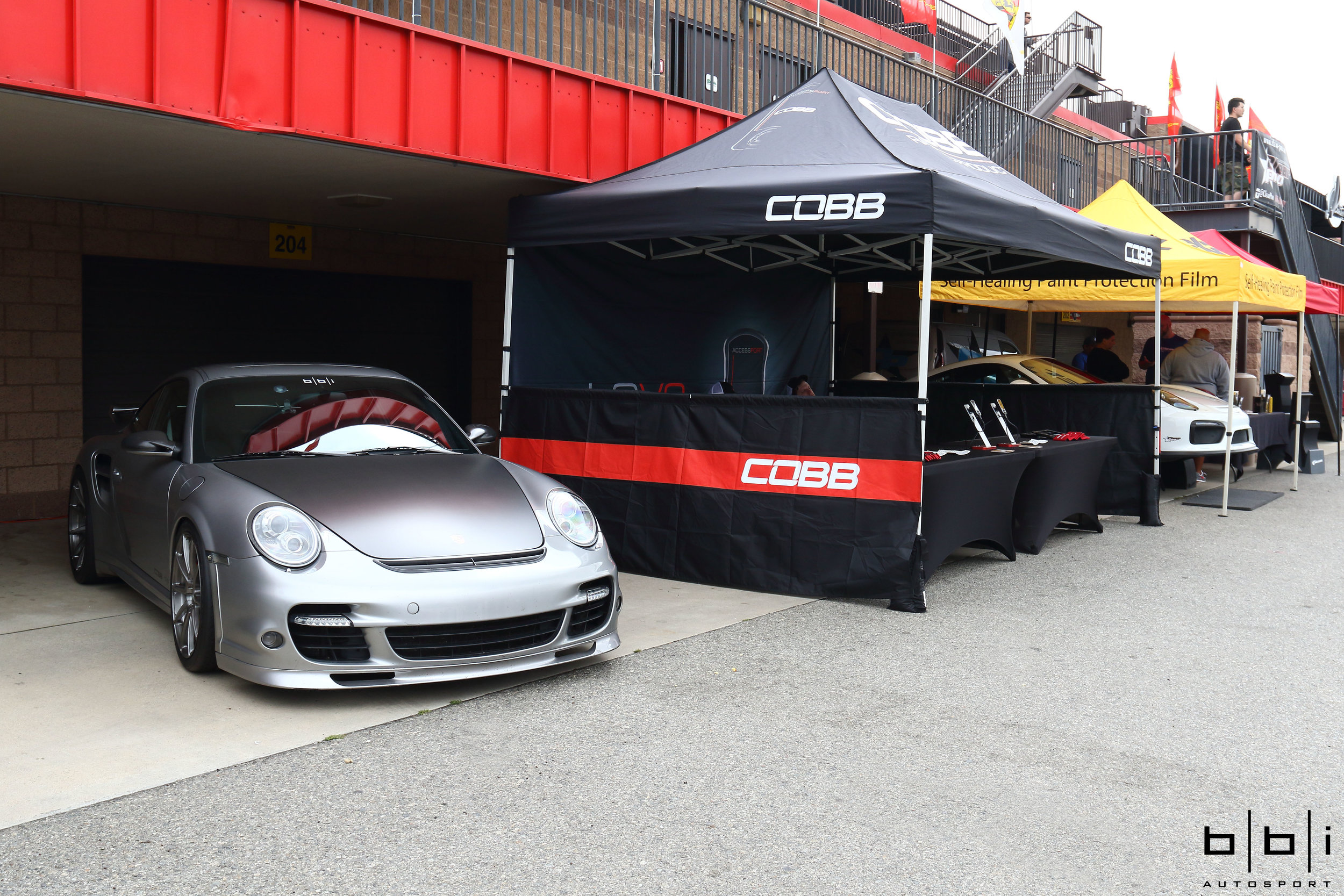 Cobb Tuning Booth with Porsche 997.1 Turbo tuned by BBi Autosport