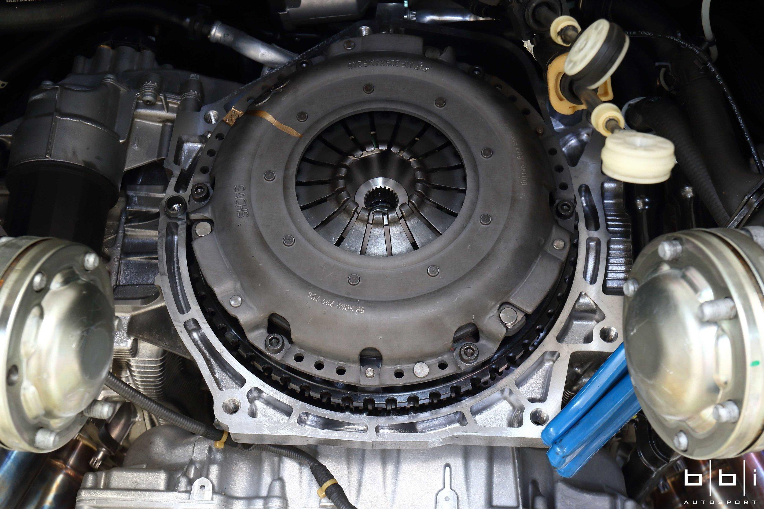 BBi Porsche Cayman GT4 Lightweight Flywheel & Sport Clutch Kit Installed