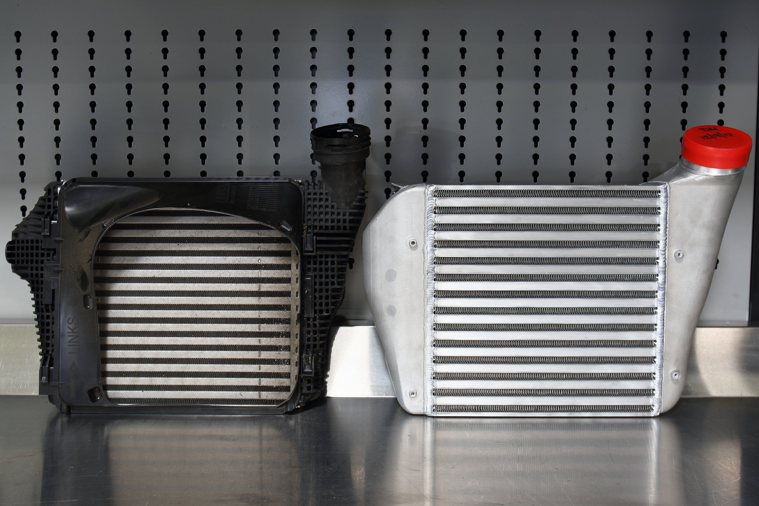 OEM vs AMS Alpha Intercoolers Side by Side Comparison
