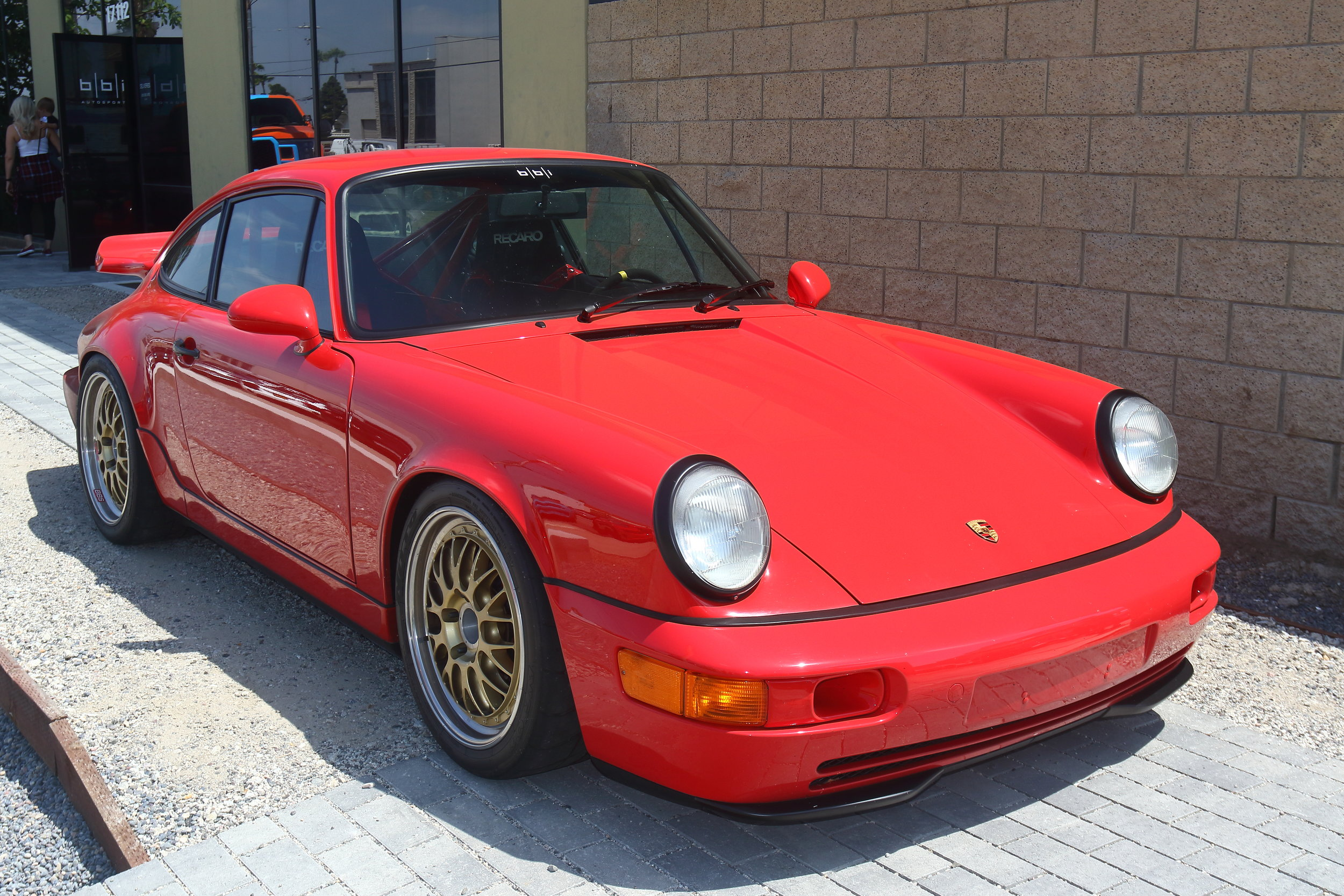 Chris' Porsche 964 CS build featuring Recaro Pole Position Seats, BBS E88 Wheels, and Brembo GT Brake Kit bolted to our BBi Autosport Billet Uprights.