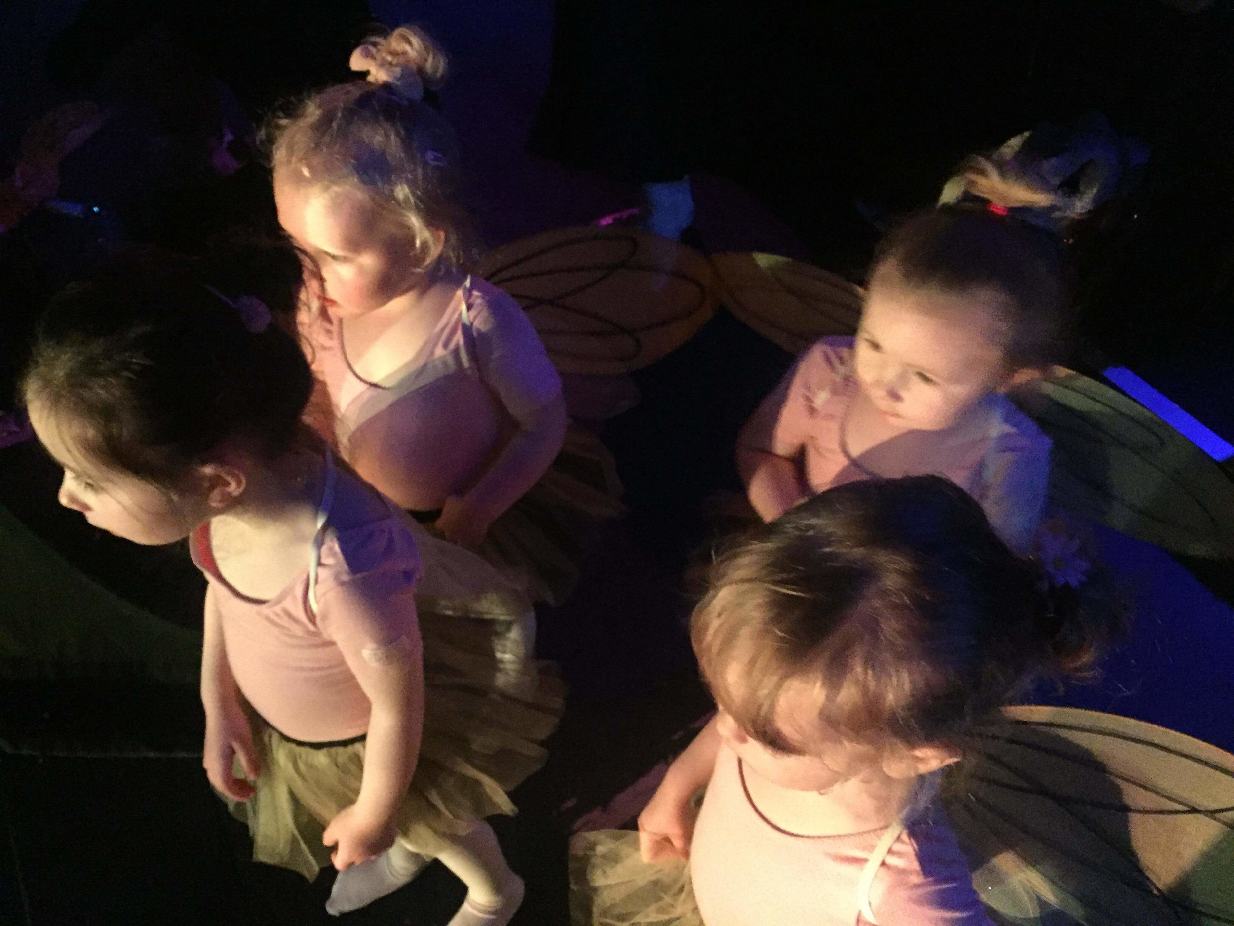 Pre School ballet students ready for their 'Bee Movie' dance