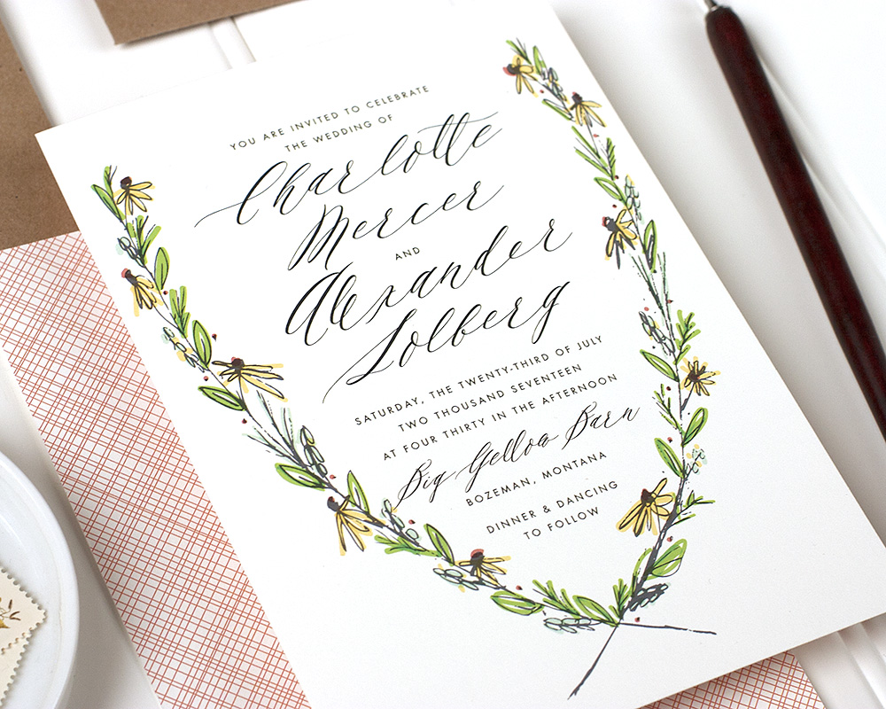 Rustic Floral Wreath Wedding Invitation