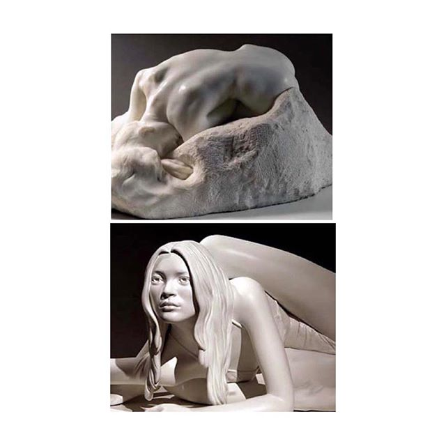 "Auguste Rodin ""Danaid"" 1890, marble; Marc Quinn ""Sphinx (Nike)"", 2006, painted bronze. #rodinmuseum #marcquinn"