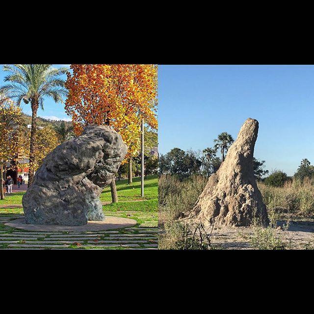 """William Tucker """"Maia"""" 2002, bronze. Ribera Park, Bilbao, Spain; Fungus Termite Mound, 2019, Okavanga Delta, Botswana.#macrotermitinae #fungustermitemounds#williamtuckersculpture#parquederibera#okavangadeltabotswana"""