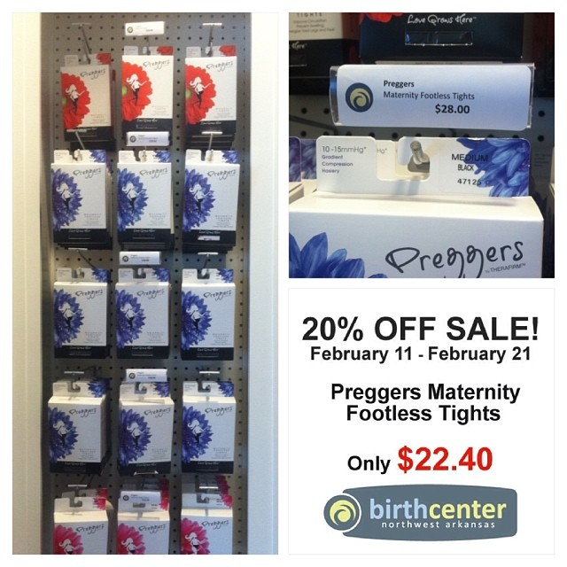 SALE SALE SALE! Now through February 21, Preggers Maternity Footless Tights are 20% off. Come on in!