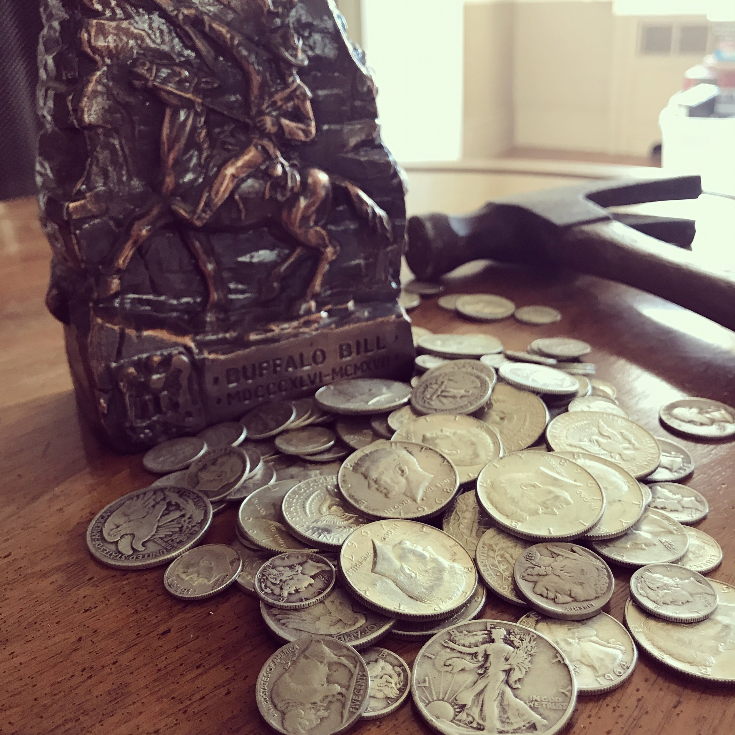We found this old coin bank and busted it open. Silverrrrr! Arrr!