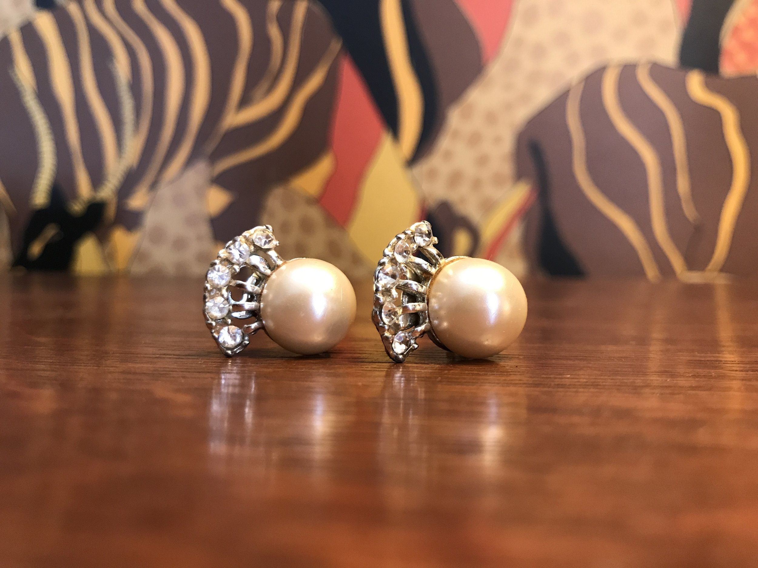 Pearl & Rhinestone Earrings - When worn, rhinestones sit above the pearls. Blanche liked to keep herself well-adorned.$26