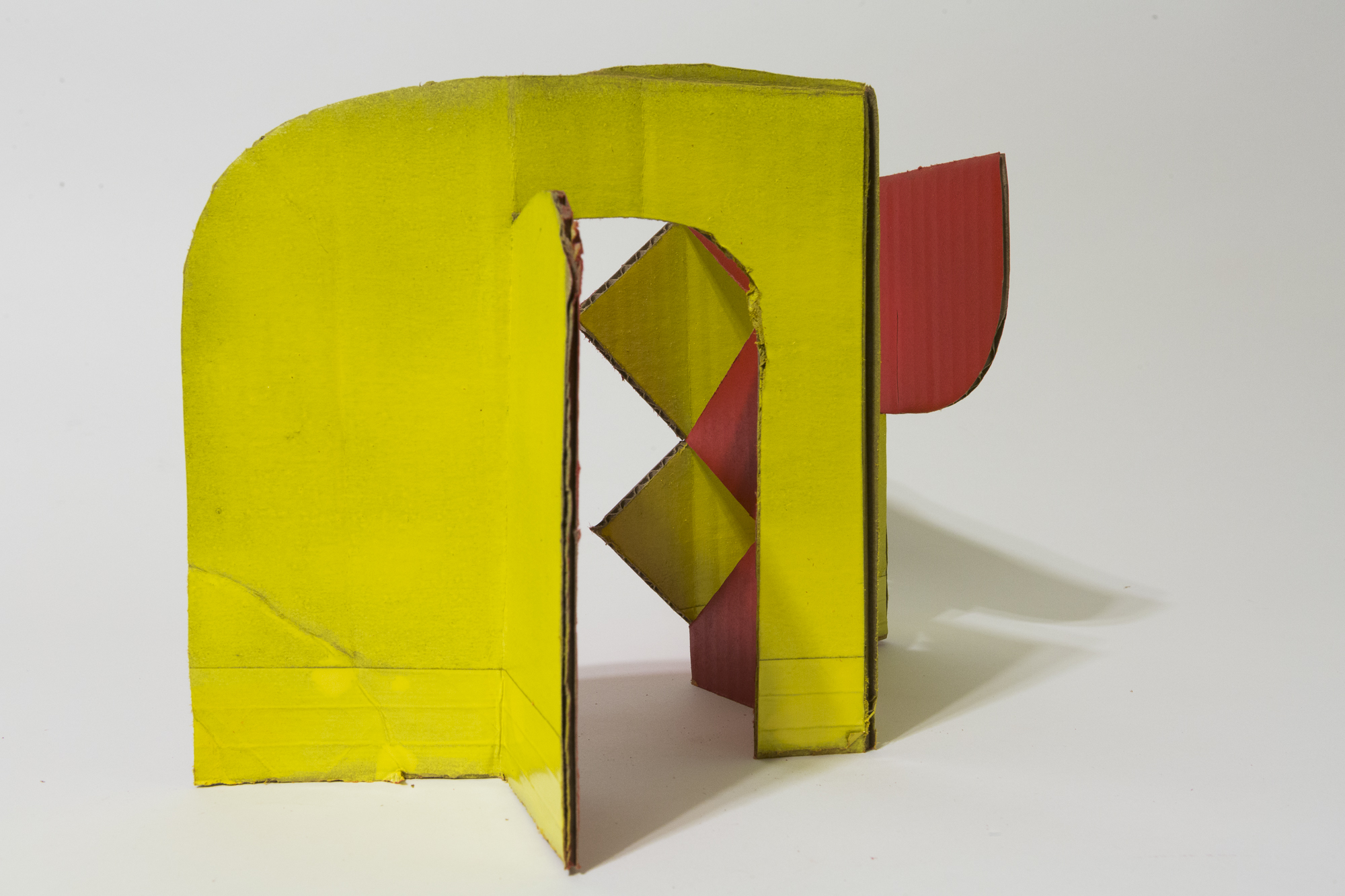 """Cardboard Wall Study  Approx 12"""" tall  Shipping box tape and acrylic paint"""