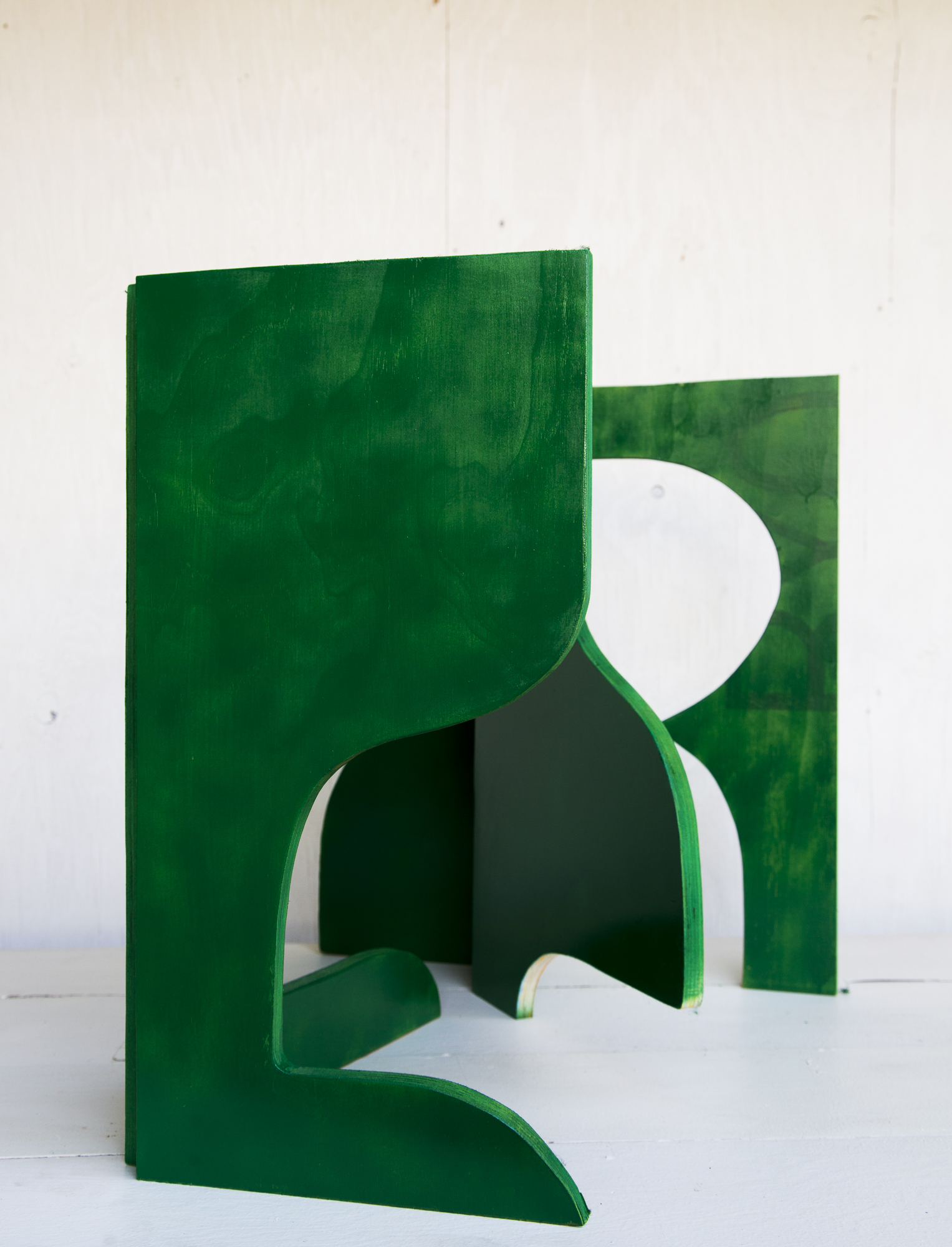 """Plywood Wall Study  Approx 30"""" tall  Plywood, hinges and acrylic paint"""