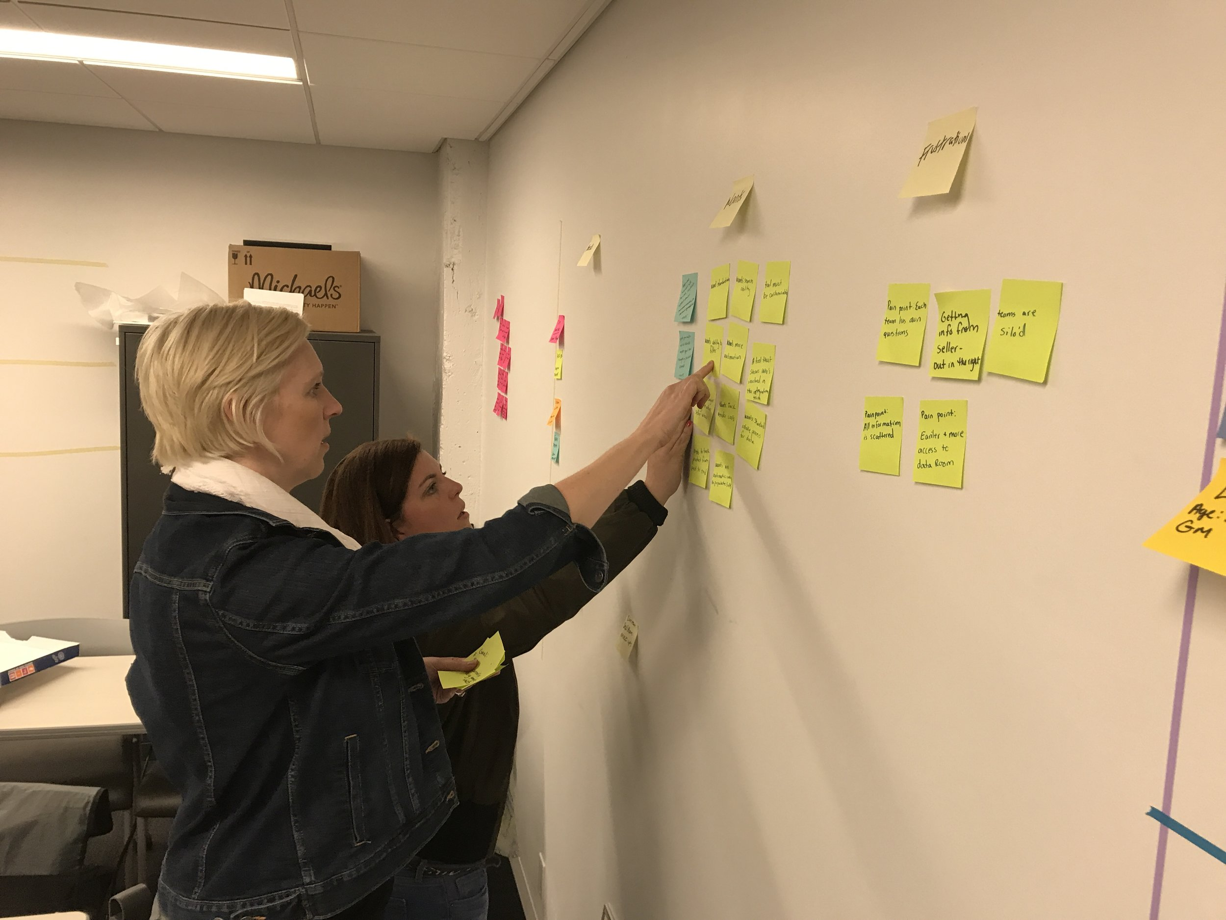 Me and my colleague are affinity diagramming. This process validated both of the client's assumptions; that materials in due diligence were necessary for a successful integration and Excel was the industry standard. We thought there has to be a better way.