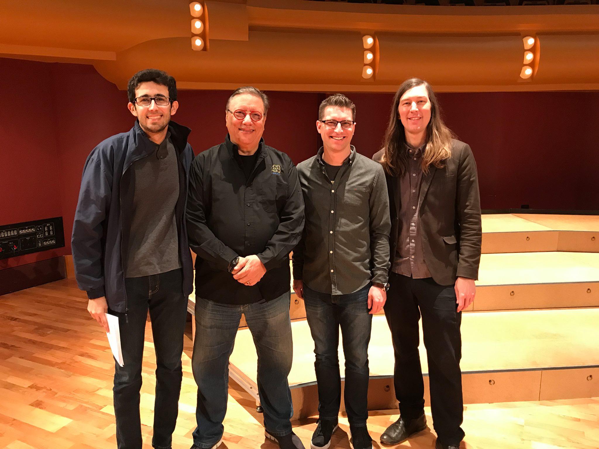 Pictured with Arturo Sandoval (trumpet), Jon Deitemyer (drums) and Matt Ulery (bass).
