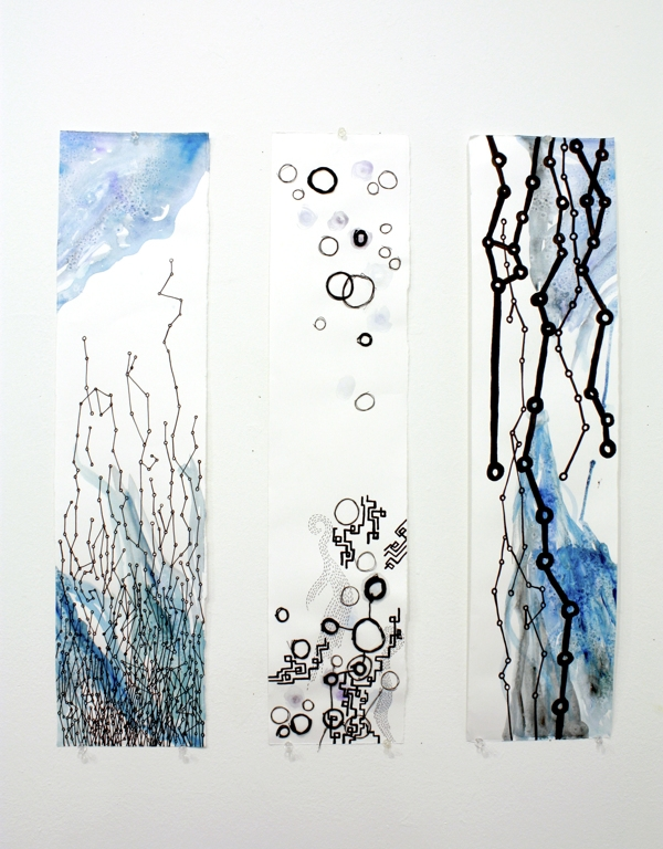 Time Chart Tryptic  7x24 each, Ink, Watercolor, Gouache, Thread on Paper