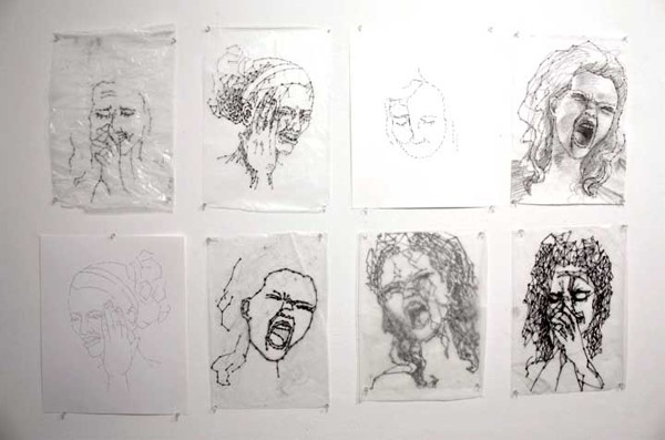 8 Moments  14x17 each,Ink, Graphite, Thread on Paper