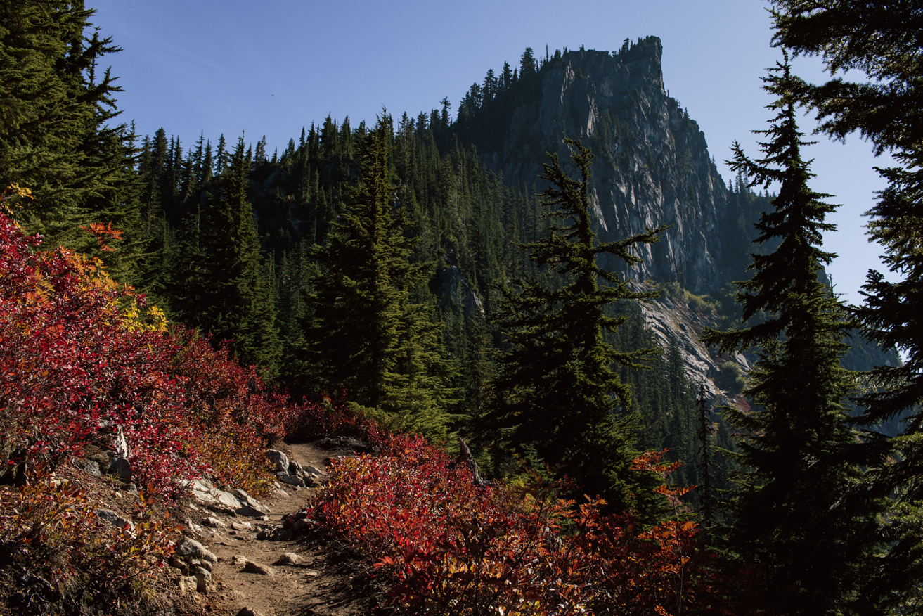 The trail leading down to the lake, with Mount L  ichtenburg   finally distinguishable.