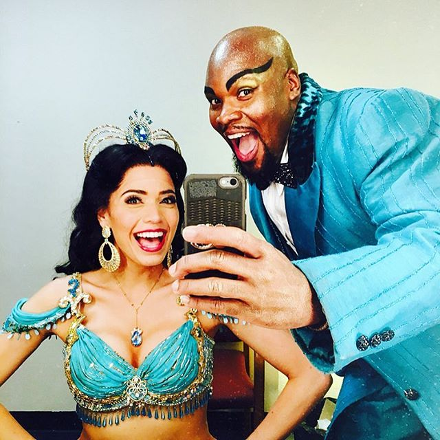 """""""Aussie Aussie Aussie, Oi Oi Oi!"""" This man won last night for Best Supporting Actor at the @helpmann_awards! 🇦🇺 So proud of you @iammjscott and sending my love to you and everyone at @aladdininaus 💖 miss you all so much!!!! This was so well deserved, to the most fiercely talented bundle of joy genie ever! #genie #jasmine #aladdin"""