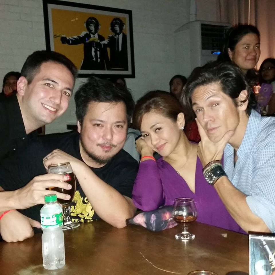 The writer of this article in Manila,with MiG and  Bridges of Madison County  co-stars Nino Alejandro and Joanna Ampil.