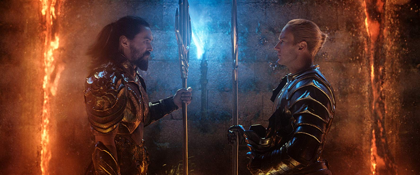 Jason Momoa (Aquaman) stands off with his brother, Orm (Patrick Wilson) [Warner Bros]