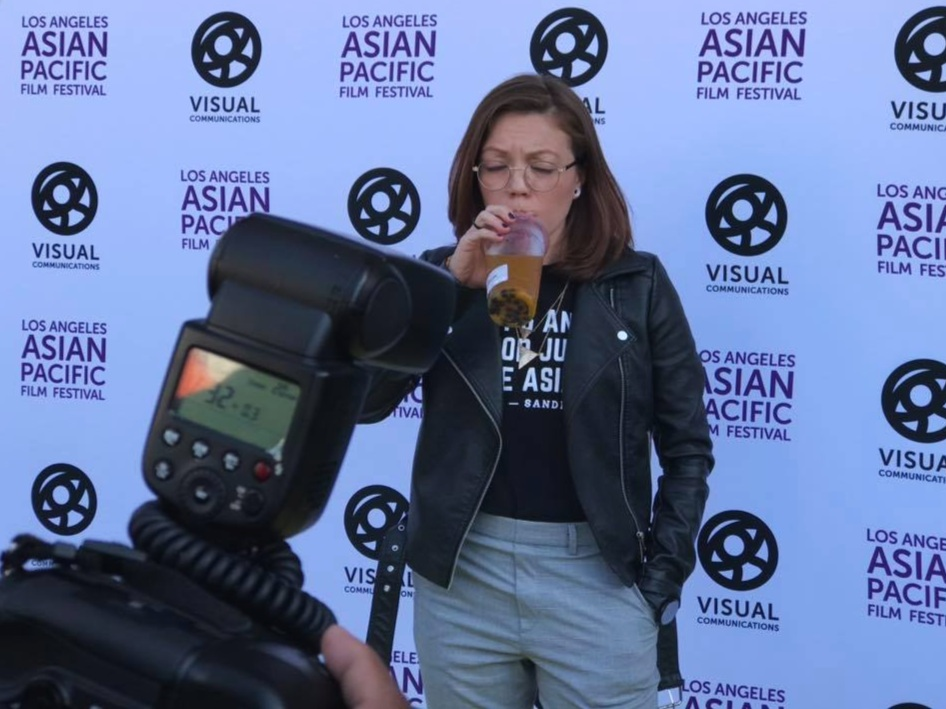 Andrea drinking boba at the L.A. Asian Pacific Film Festival