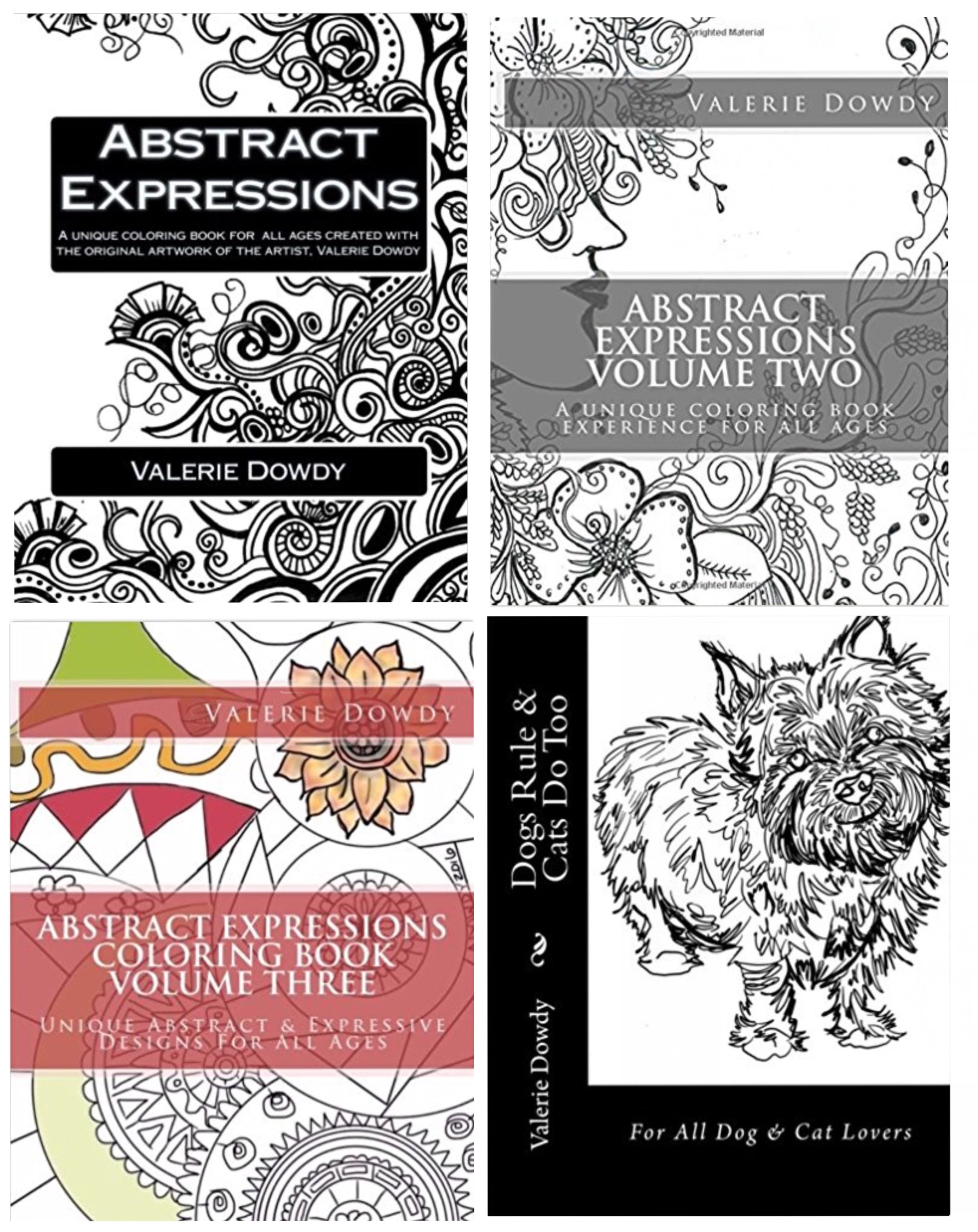 Coloring Books by Valerie Dowdy - Valerie's artwork designs are created to entertain all ages. So grab your favorite medium and prepare to have fun, relax, refocus and re-connect with your life with any of her designs. All her books are hand drawn images and self published. Price: $10 each coloring book | $20 gift set which includes book + coloring pencils