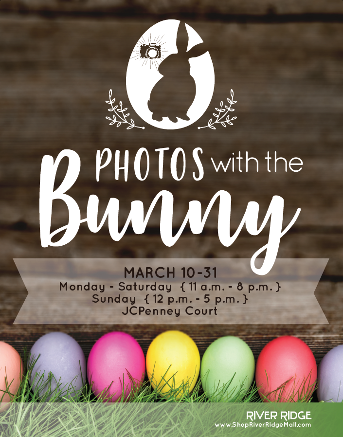 photos with the bunny @ river ridge mall  March 10th-31st at 11am -8pm (Mon-Sat) & 12pm-5pm (Sun)  3405 Candlers Mountain Rd. Lynchburg, VA 24502   Visit the Easter Bunny at River Ridge! Located in the JCPenney Court.