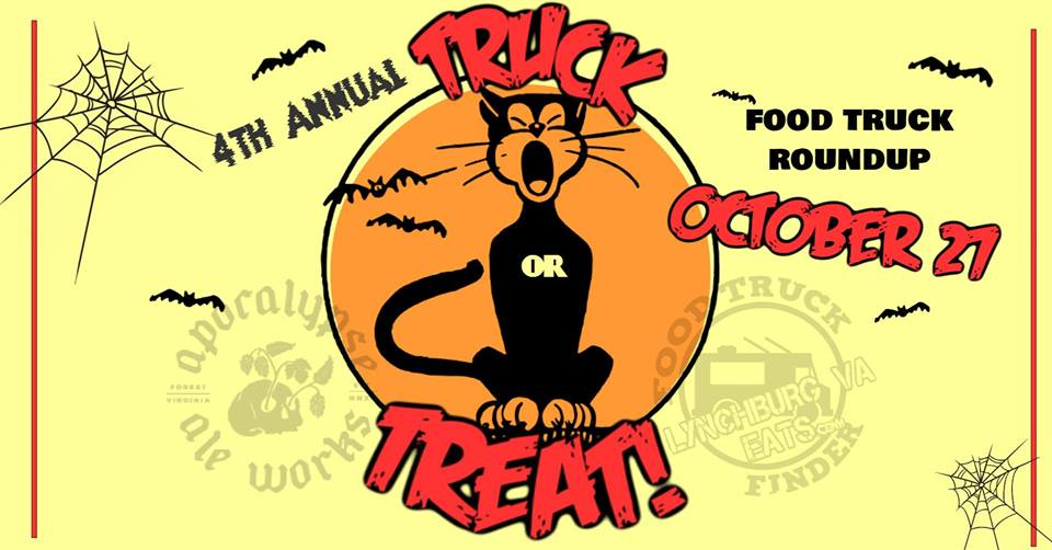 Truck or Treat - 12-5pm, $5/adult, kids freeApocalypse Ale WorksCelebrate Halloween with food trucks, trick or treat candy, live music, kids zone, adoptable pets and more!! Costumes encouraged! Pets welcome! Featuring: Centra Code Fresh Food Truck, Action Gyro, The Dawg House, Where the Sweet Things Are. Proceeds go to the Humane Society.