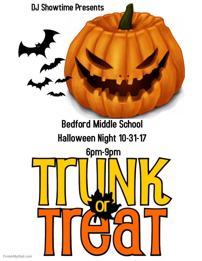 Trunk n Treat + Haunted Path - 6-9pm, Old Bedford Middle School Parking LotFun-filled night lined with cars doing Trunk or Treat along with music, bounce houses, & the new Haunted Path!