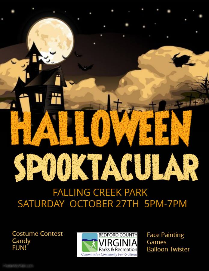 Halloween Spooktacilar - 5-7pm, Falling Creek ParkJoin Bedford County Parks and Recreation for a fun filled night of spooky games, face painting, and balloons.