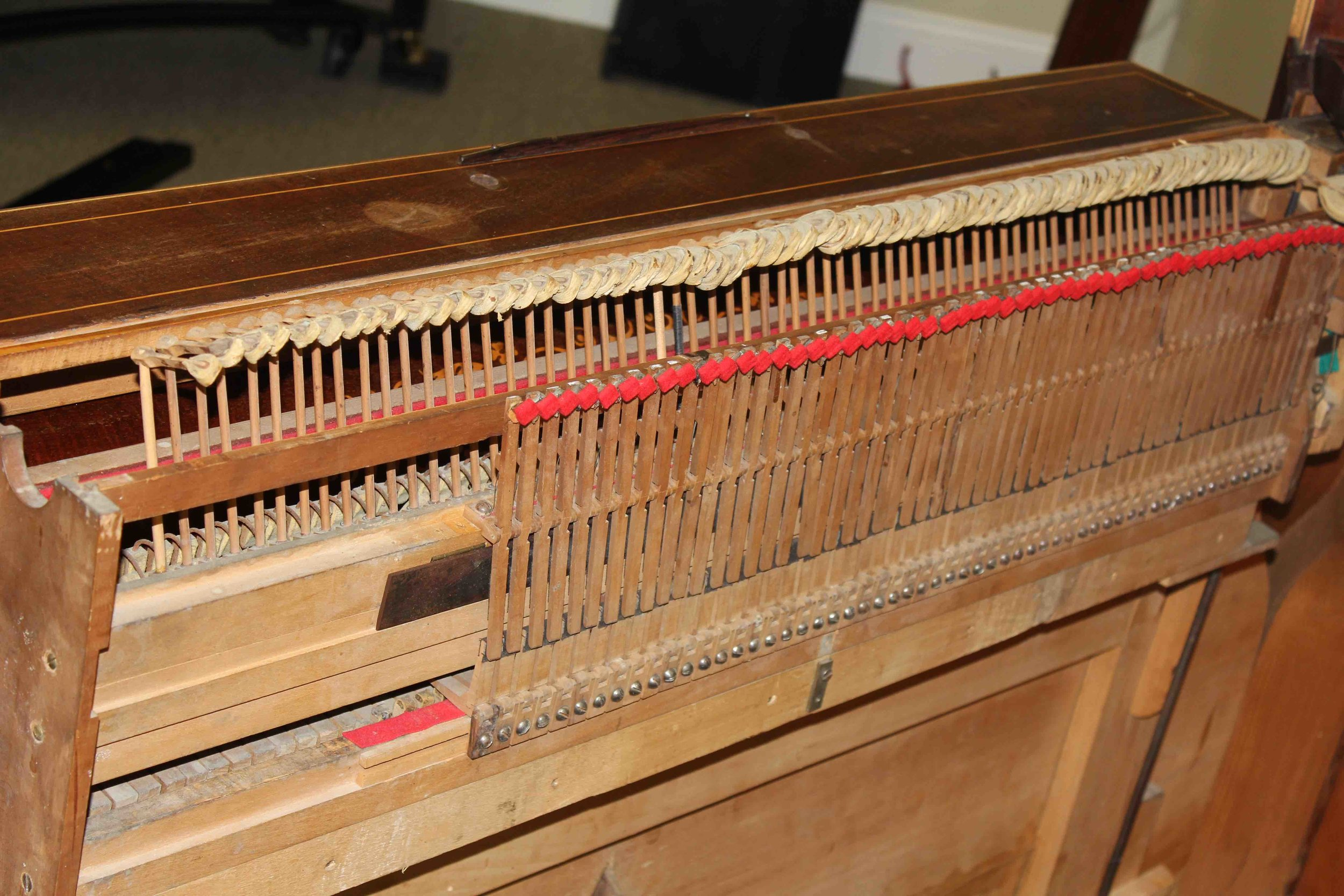 Because of the oblique angle of the strings, like that of a square piano, the hammers are angled and shaped to match.