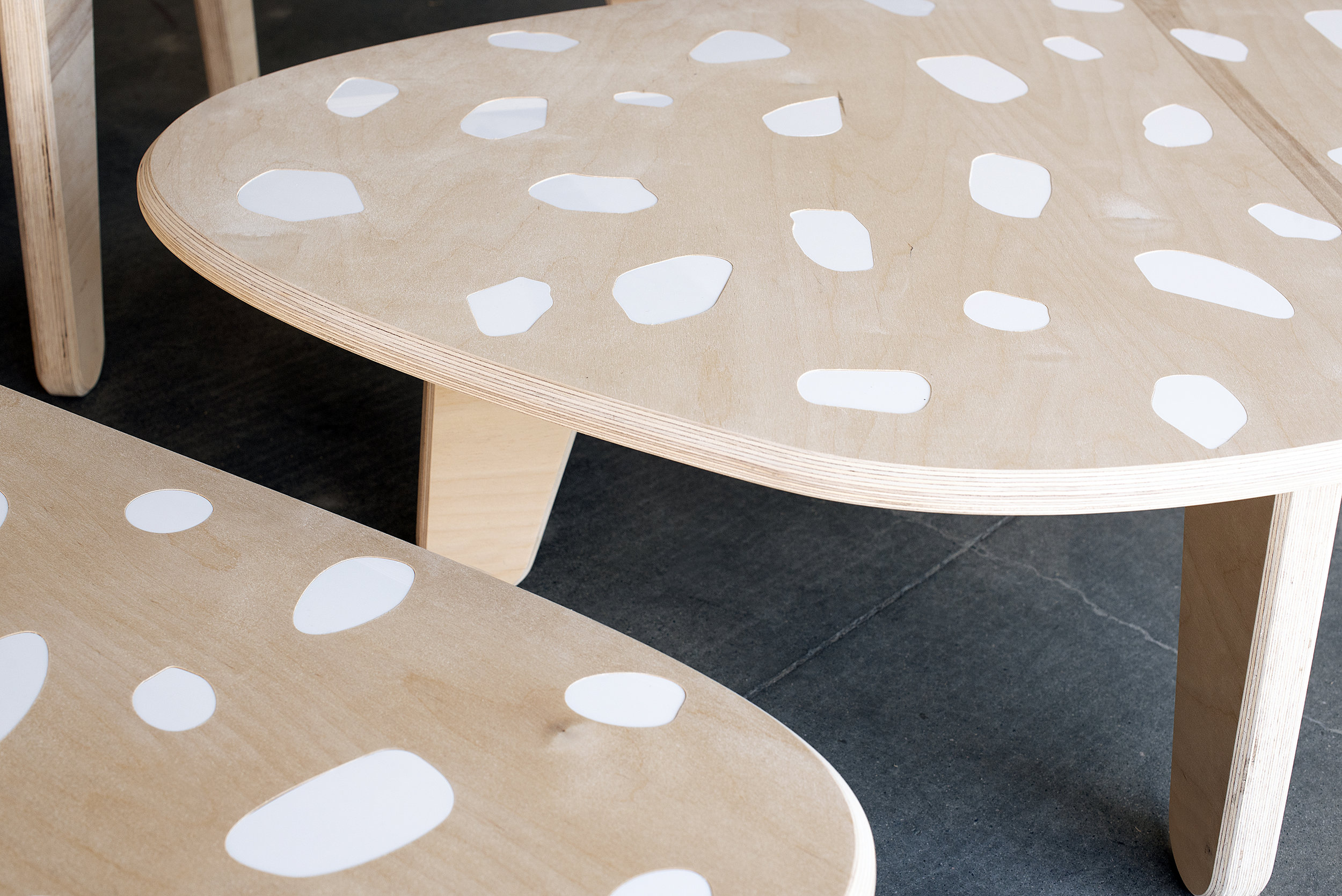 custom cnc plywood furniture Vancouver Terrazzo table