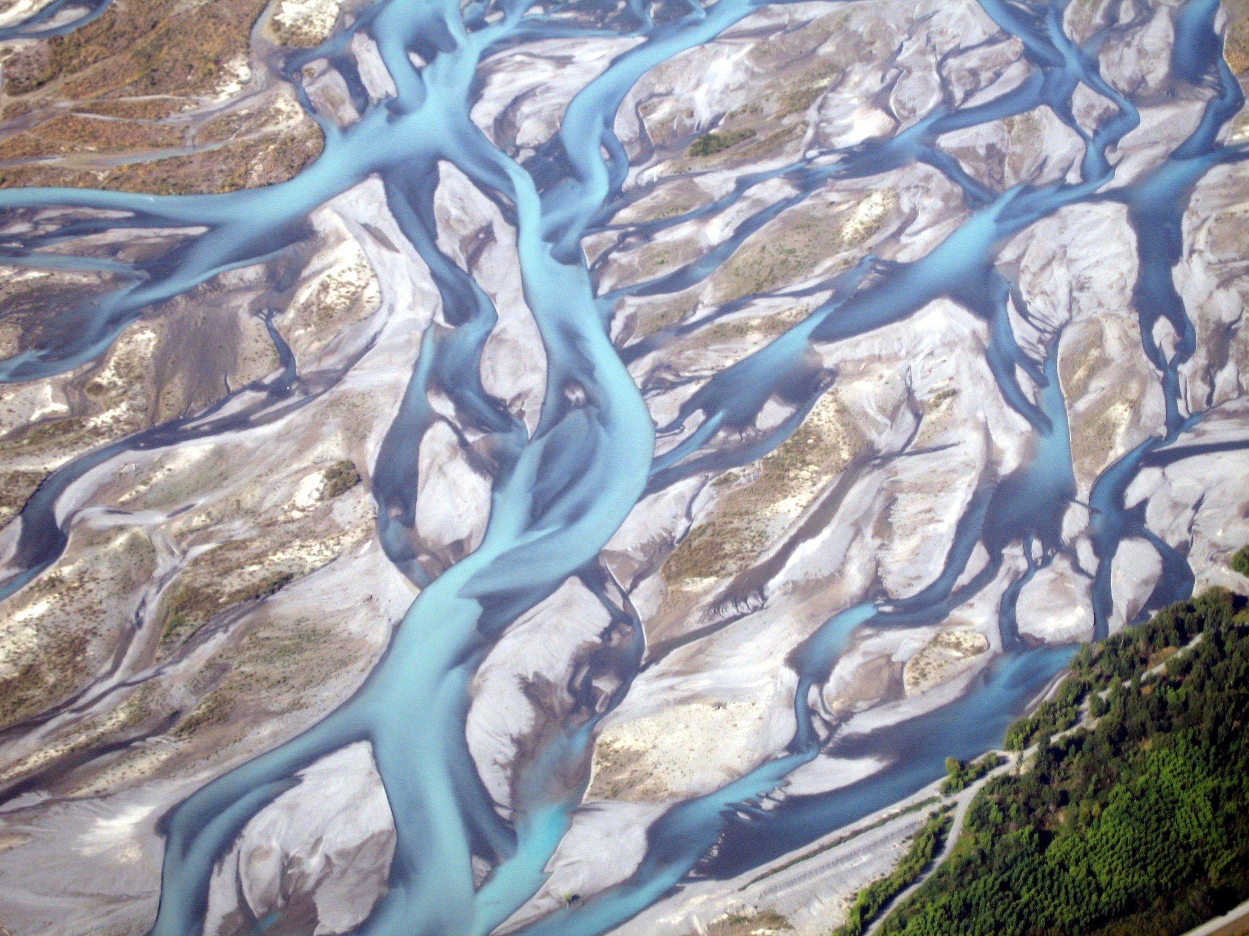Rakaia River: an example of a braided river, where wrybills breed.  Image by Geoff Leeming (CC BY-NC 2.0).