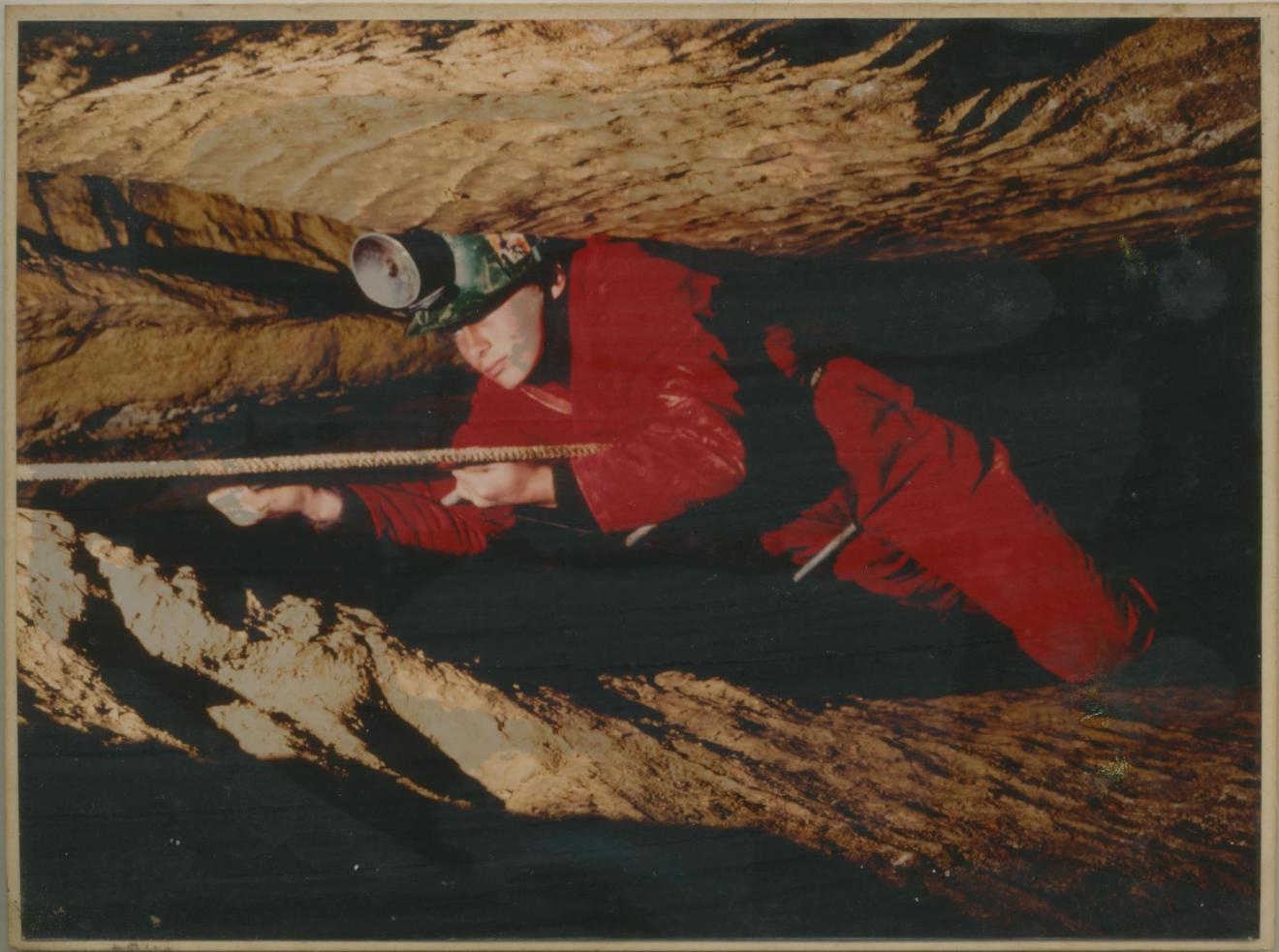 Image: Ben Stubbs in 1981 using a carbide headlamp. Photo by John Ash.