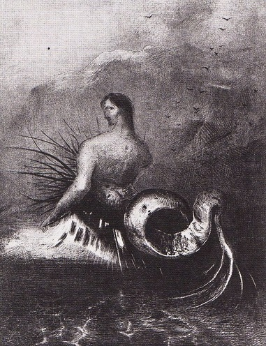 Odilon Redon (1840-1916),   Planche IV:  La Sirène sortit des flots  –Les Origines, 1883    (The siren came out of the waves)