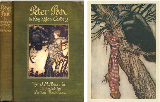 Here you have the cover of the book, and a closeup of Solomon Caw, the crow who advises Peter Pan in Kensington Gardens.