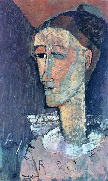 Self-Portrait as Pierrot, 1915,  Amedeo Modigliani (1884-1920)