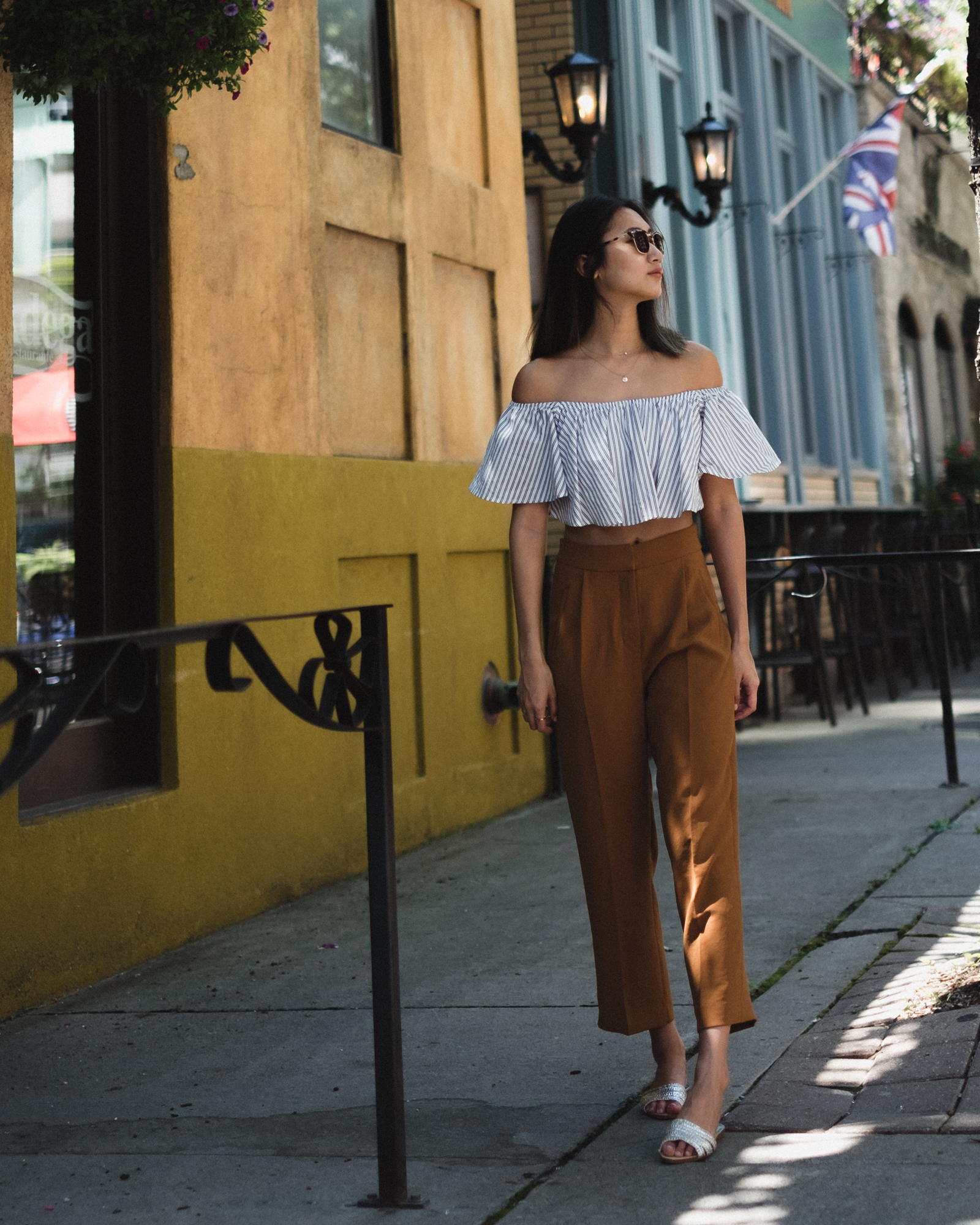 Top from  The Siista'r (similar  here and  here ), Pants from  Aritzia , Sandals from Zara (sold out - similar  here ), Jewelry from  Mejuri (use 'TINA' for $20 off)