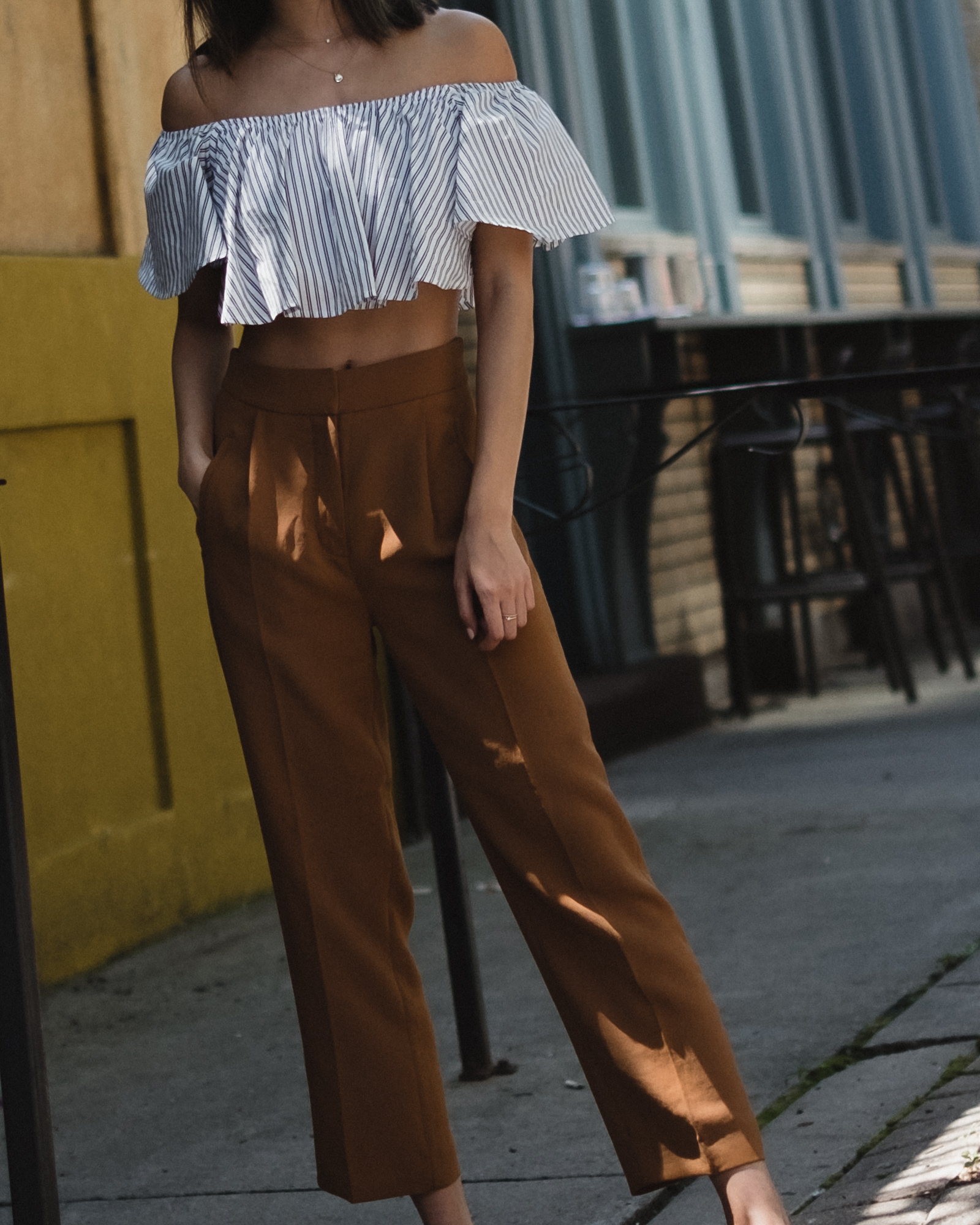 striped crop top and trousers